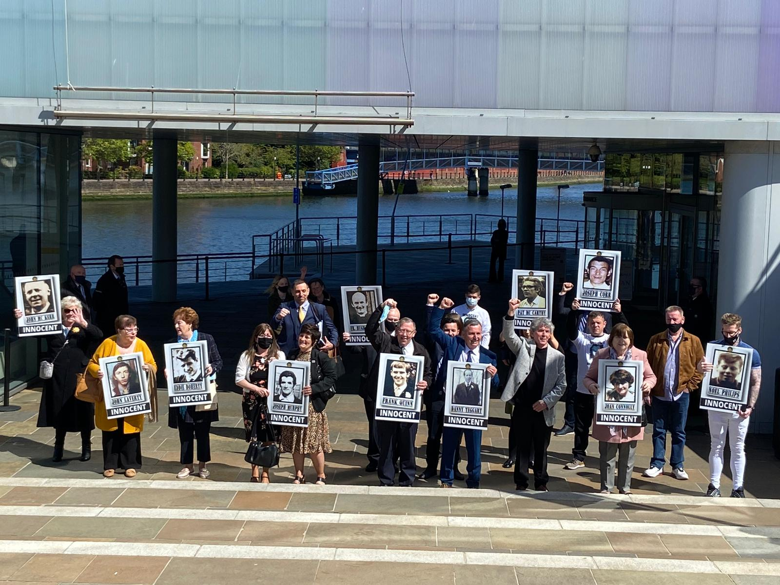 INNOCENT: The families gathered outside the International Convention Centre after the verdict