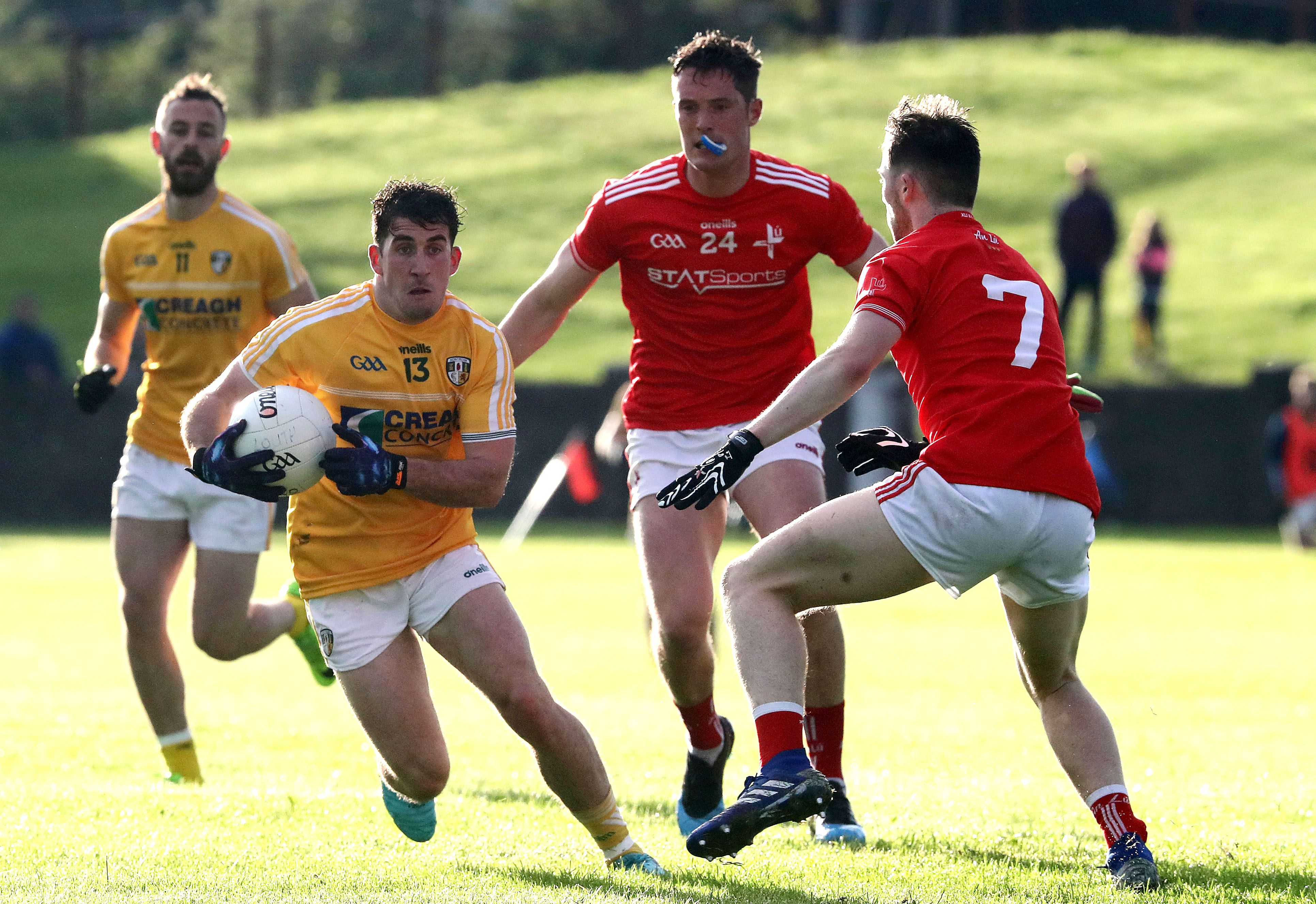 Ryan Murray in action against Louth in the 2019 All-Ireland Qualifiers when Antrim scored a victory. Both sides are under new management with Enda McGinley leading the Saffrons, while his former Tyrone boss Mickey Harte is at the helm in the Wee County