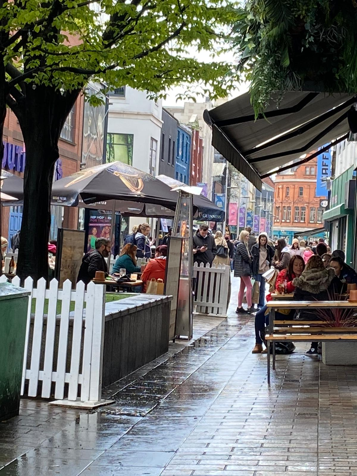 BOUNCING BACK: Shoppers in Belfast city centre last week after non-essential retail opened. Restaurants and bars will open for in-house catering from Monday.