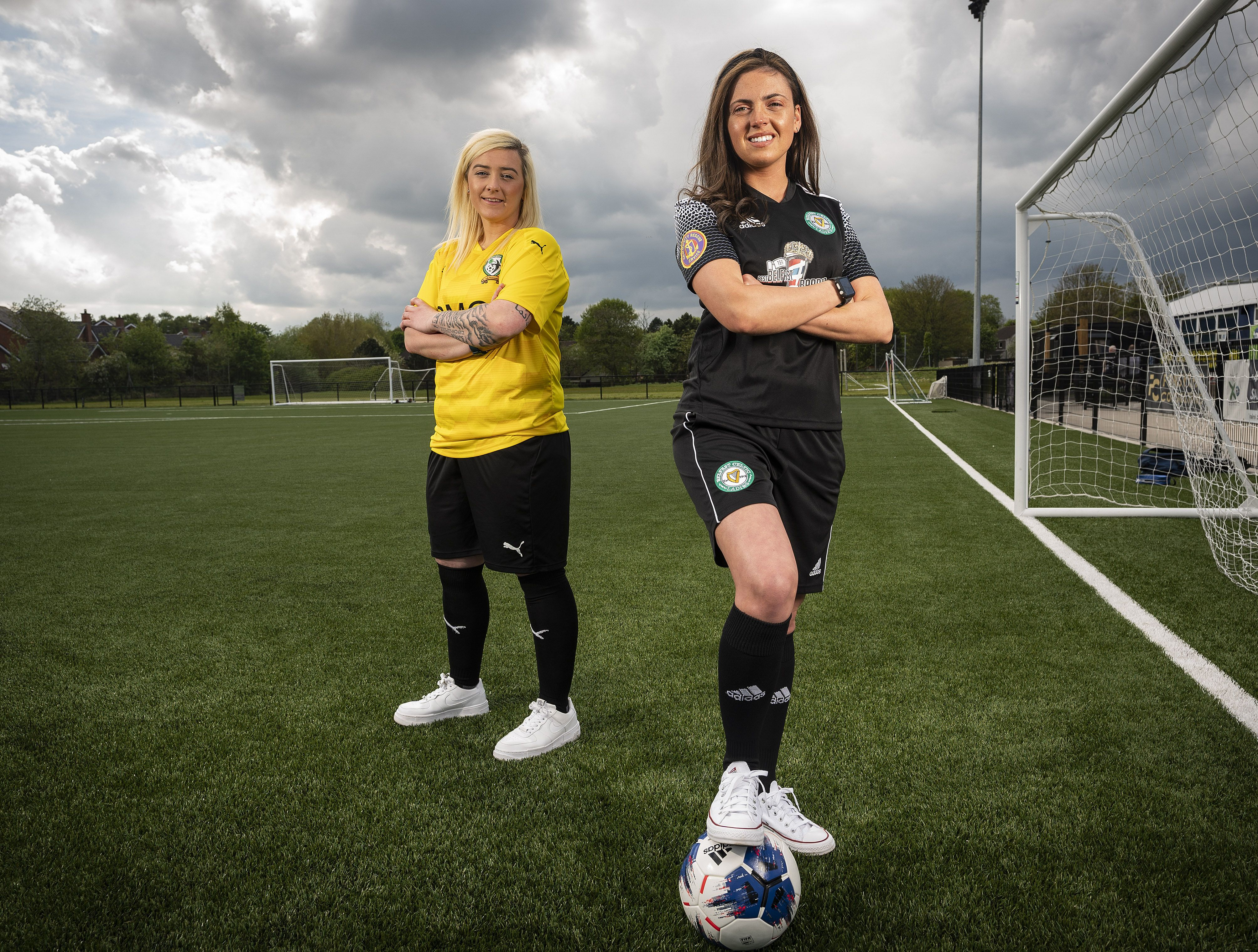 Pictured are players Claire Shaw (St James Swifts Ladies) and Eadaoin Ni Chiarrain (Belfast Celtic Ladies)