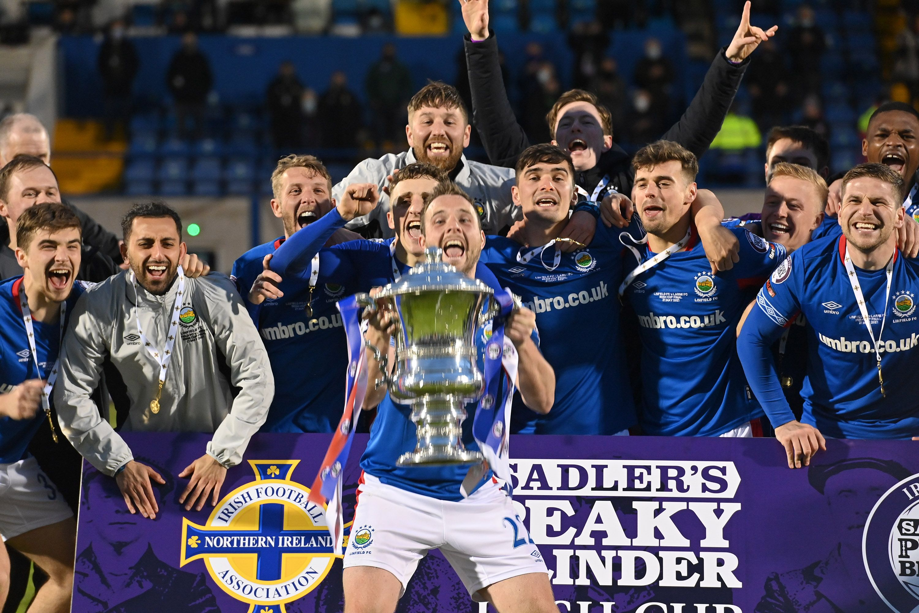 Linfield lift the Irish Cup at Mourneview Park