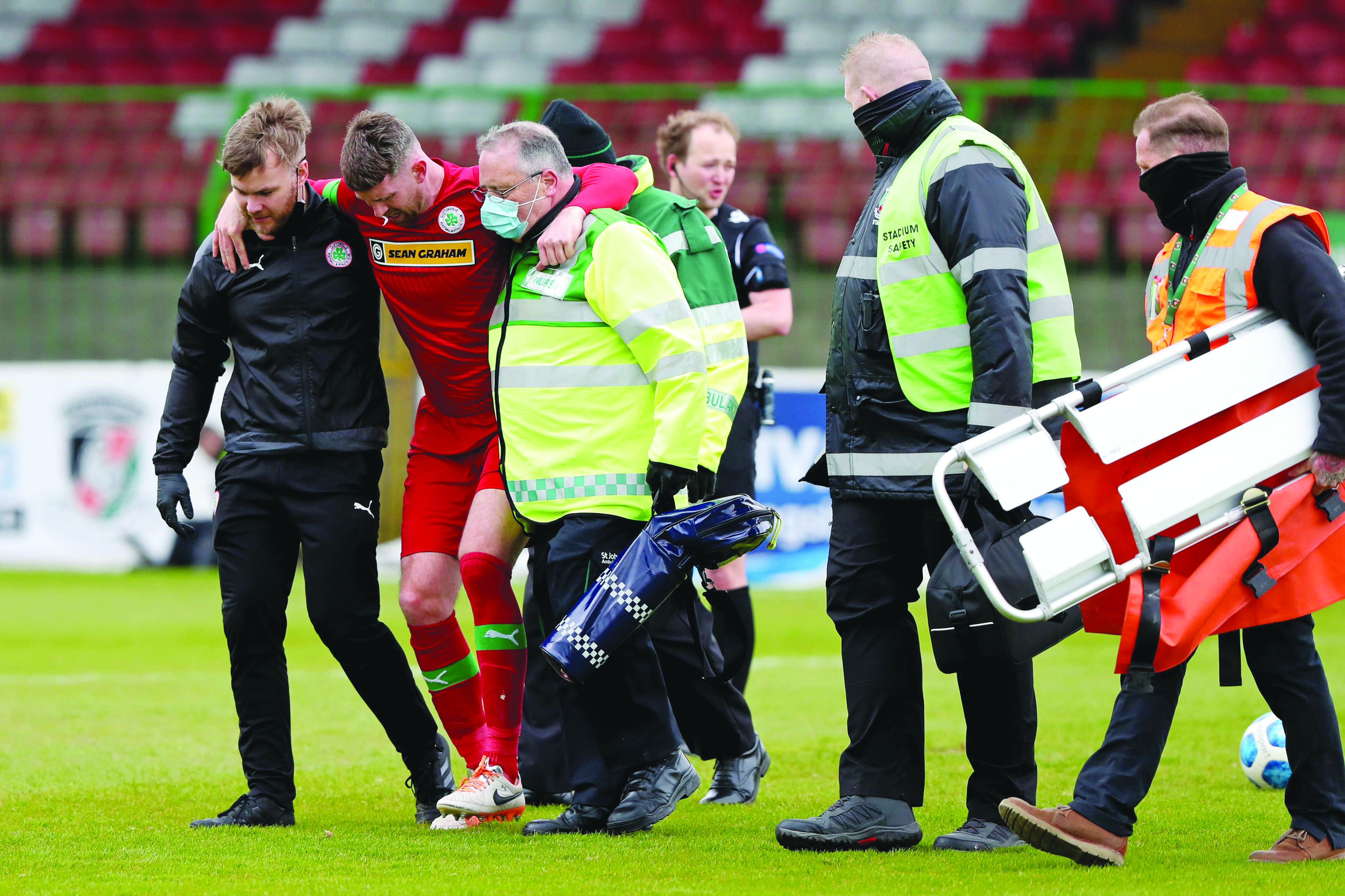 Garry Breen is the latest player on the injury list after hobbling out against Glentoran