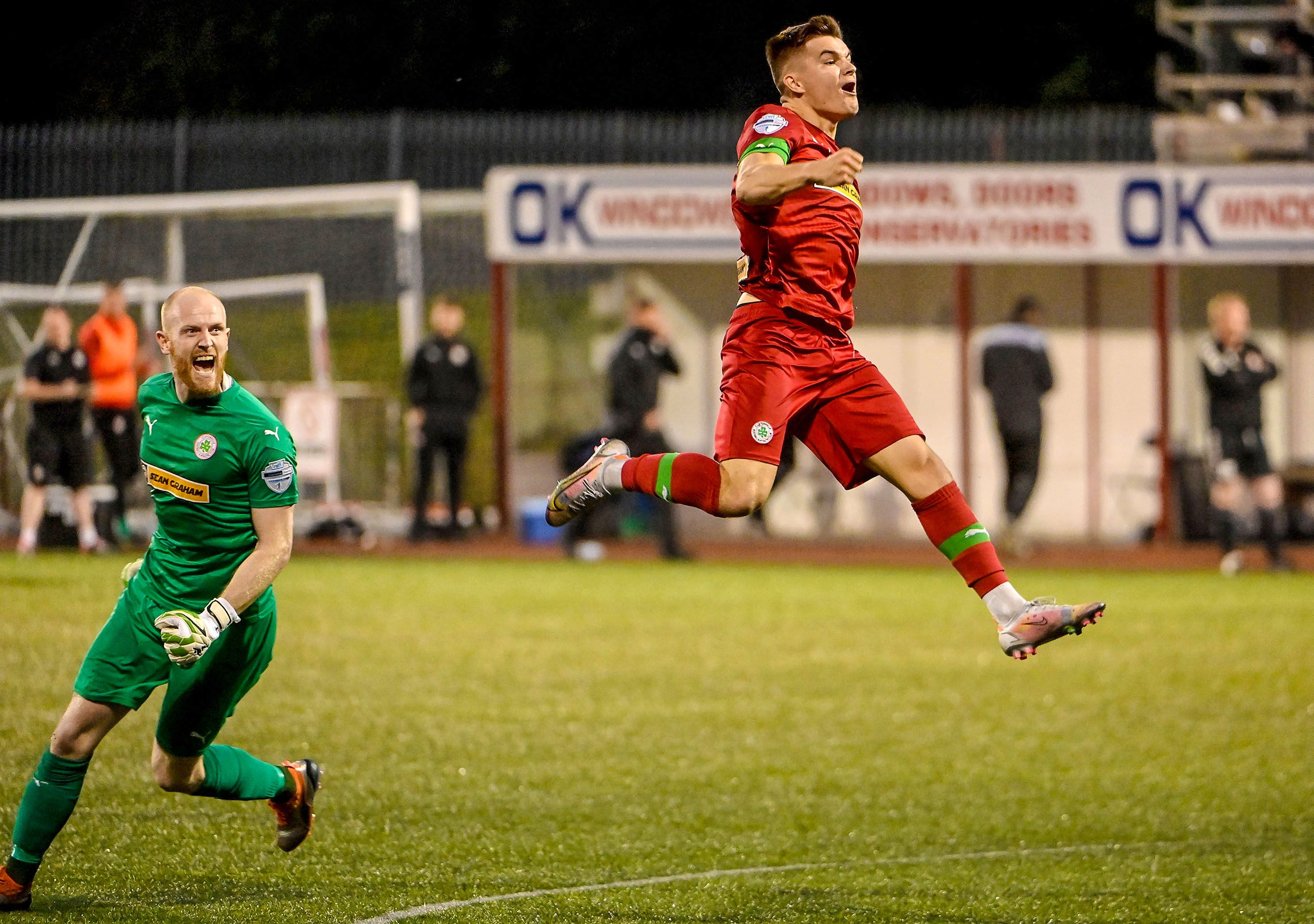 Daire O\'Connor celebrates as Cliftonville advanced into Saturday\'s final against Larne