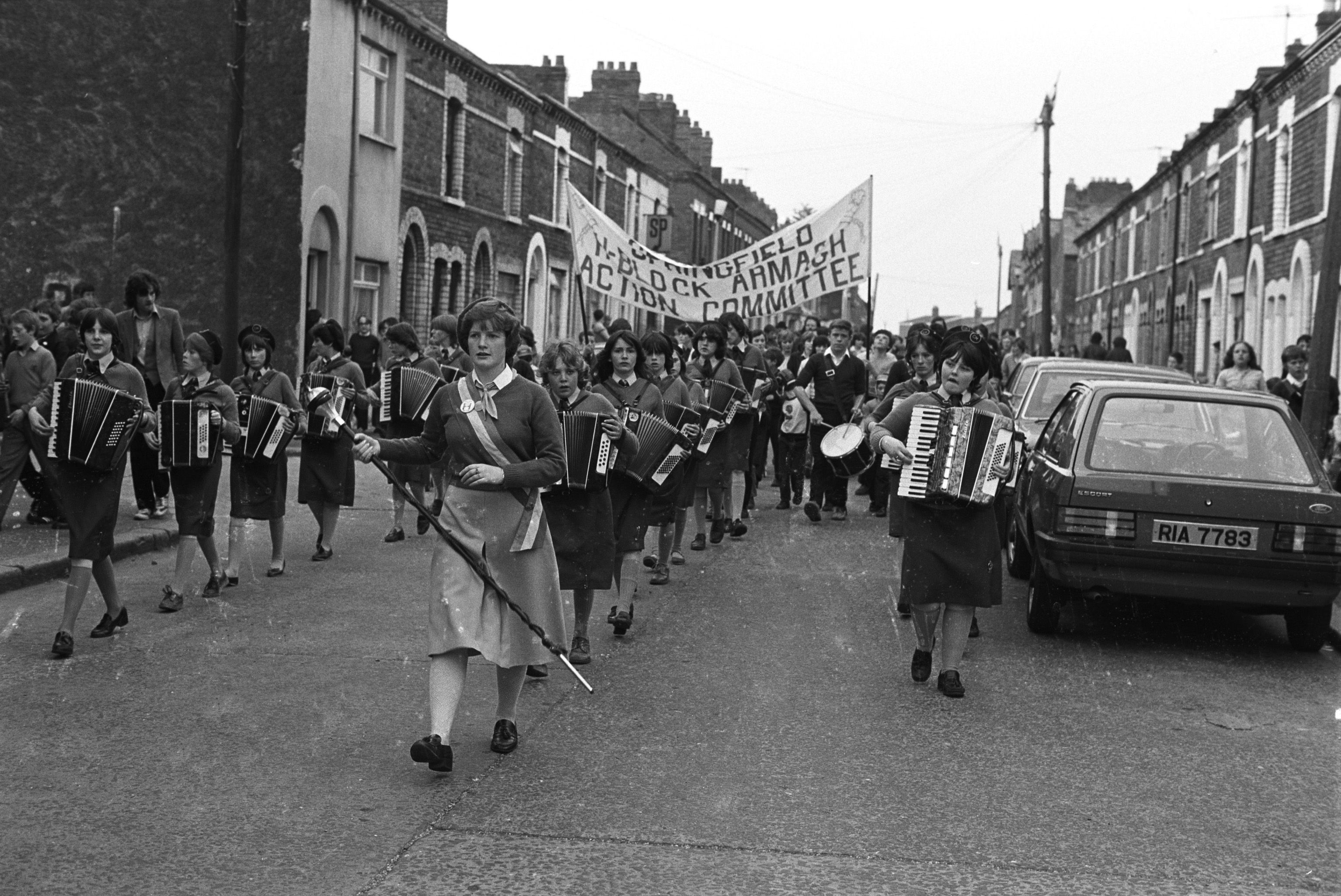 SUPPORT: An anti-H-Block/Armagh parade on the Springfield Road