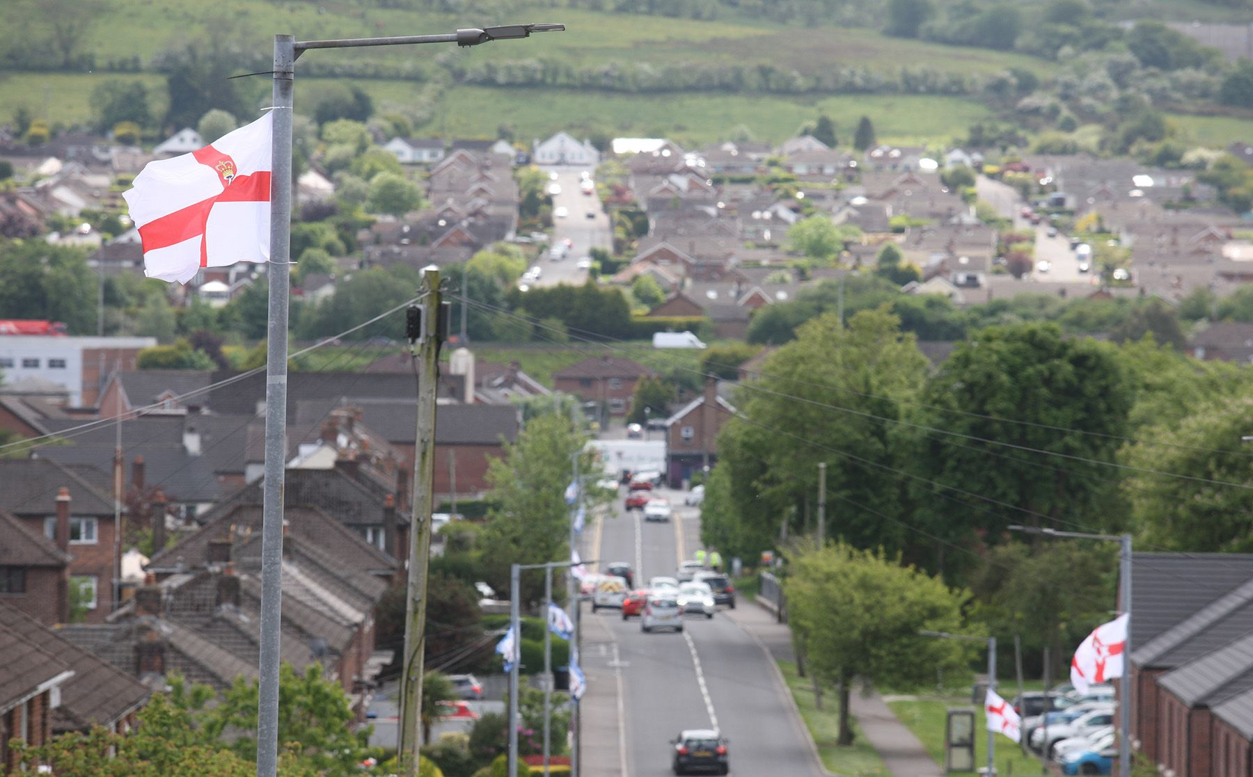 INTIMIDATING: Loyalist flags have been erected along the Carnmoney Road in Glengormley