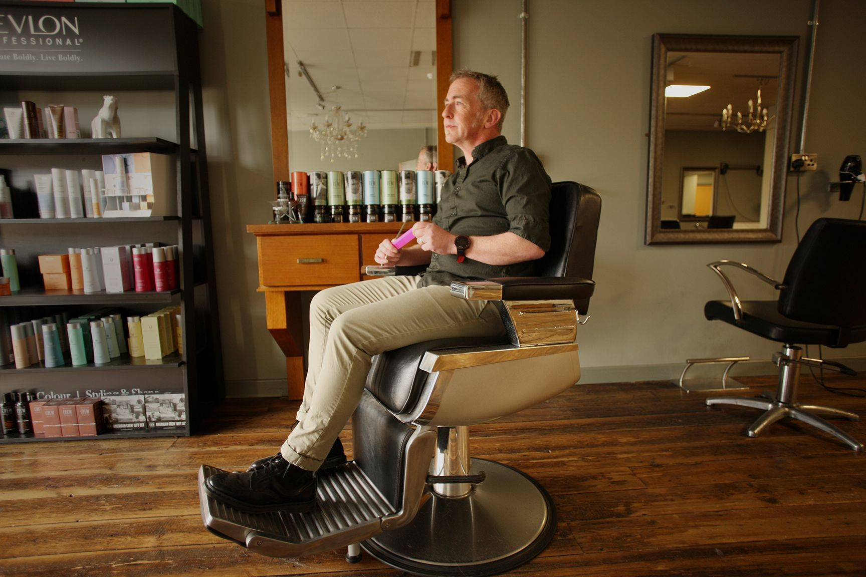 BACK ON TOP: Paul Carlin of Carlin Hair pictured in his salon just after he received news of the last lockdown.