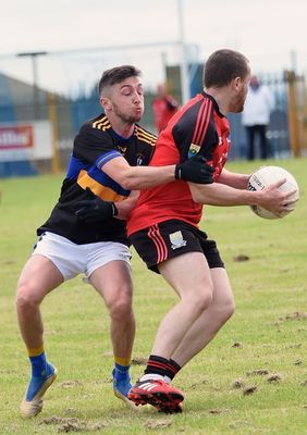 Action from last year\'s clash at Shaw\'s Road that went the way of Ahoghill