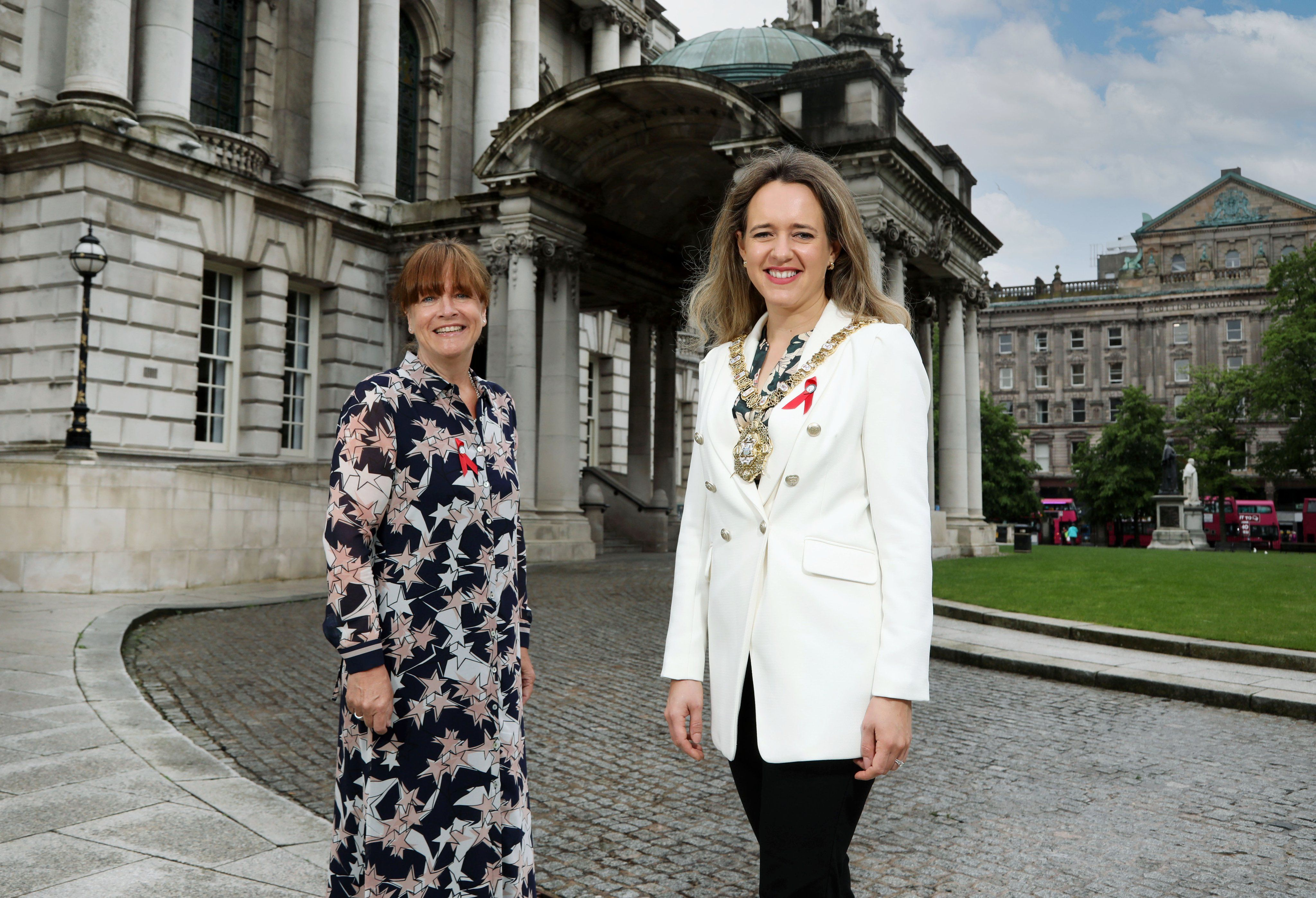 CHARITY SUPPORT: Lord Mayor Councillor Kate Nicholl with Jacquie Richardson, Chief Executive of Positive Life, at Belfast City Hall