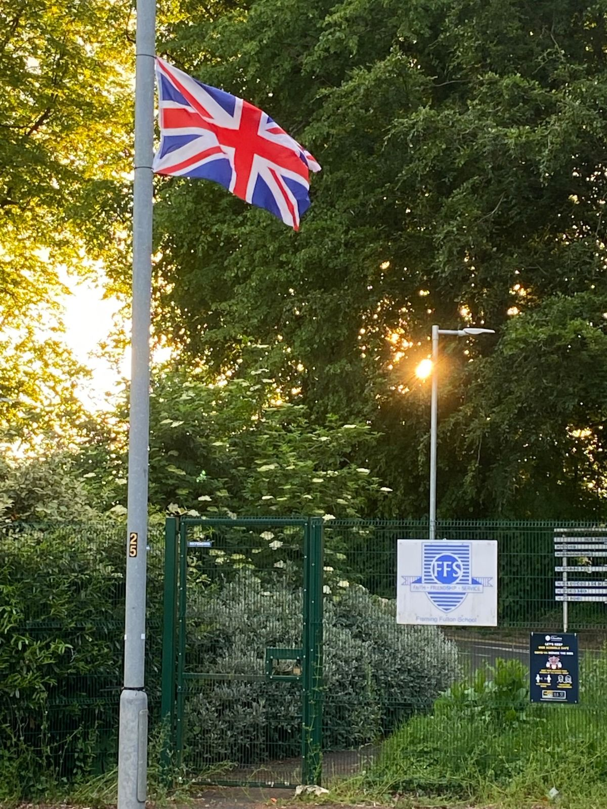 INTIMIDATION: The flag outside Fleming Fulton Special Needs School on the Upper Malone Road