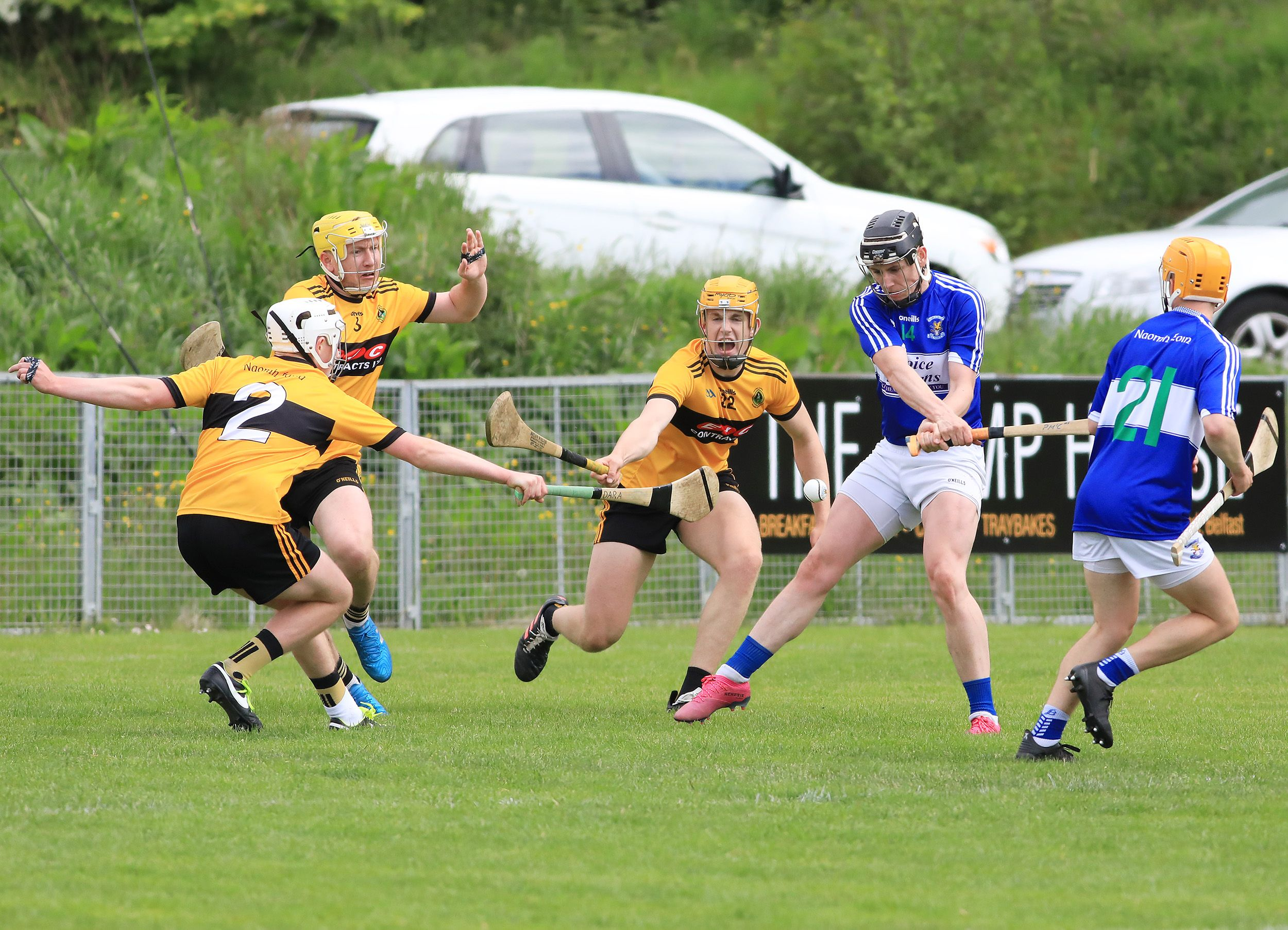 Naomh Éanna will hope to bounce back from last weekend\'s heavy defeat to St John\'s when they host Dunloy this evening