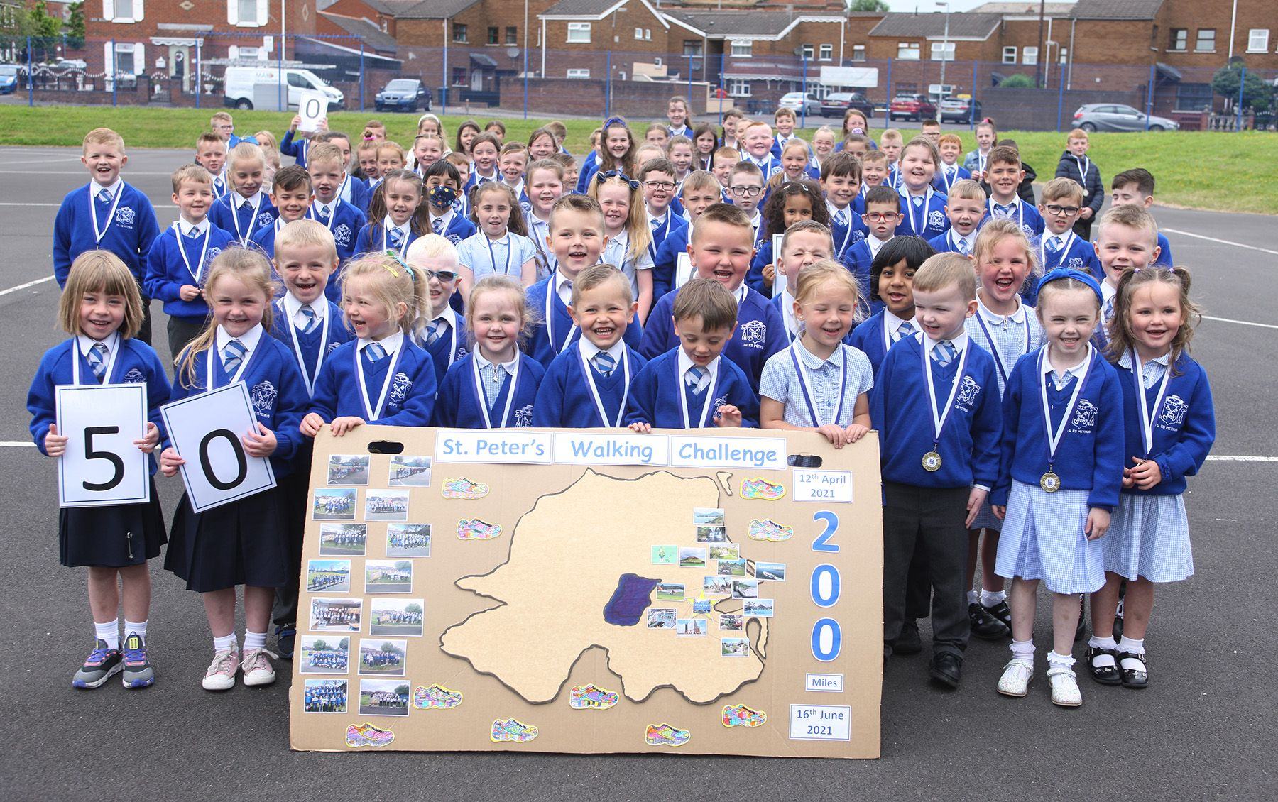 GETTING ACTIVE: The challenge saw pupils walk a combined total of 200 miles around the yard while learning about the world around them