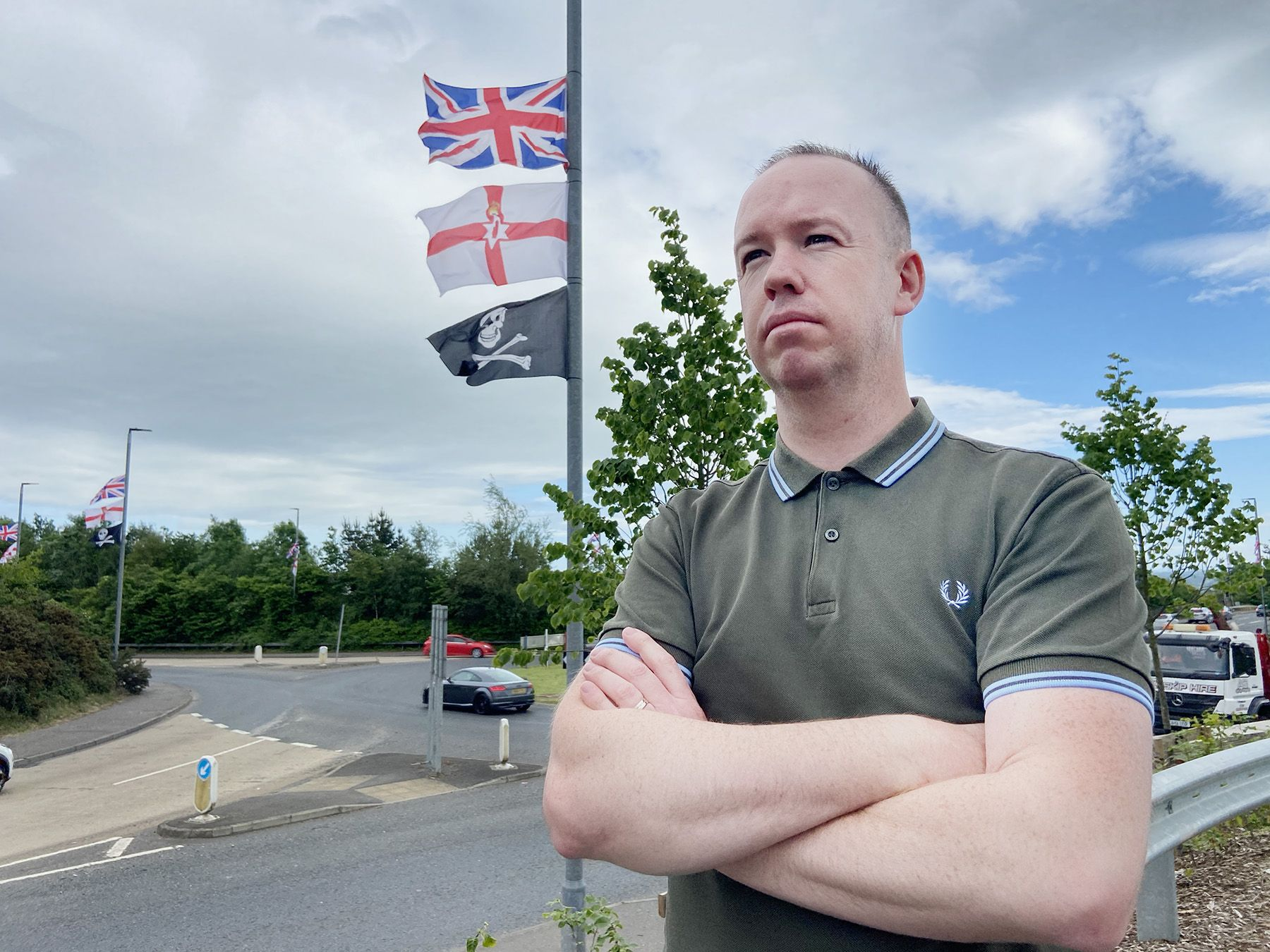 COMPLAINTS: Sinn Féin Cllr Gary McCleave at Thaxton roundabout in Lisburn