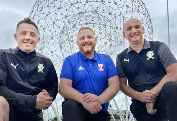 IN A LEAGUE OF THEIR OWN: Dan Murphy (St James Swifts), James McCann (Sandy Row FC), and Gavin Kelly (St James Swifts)