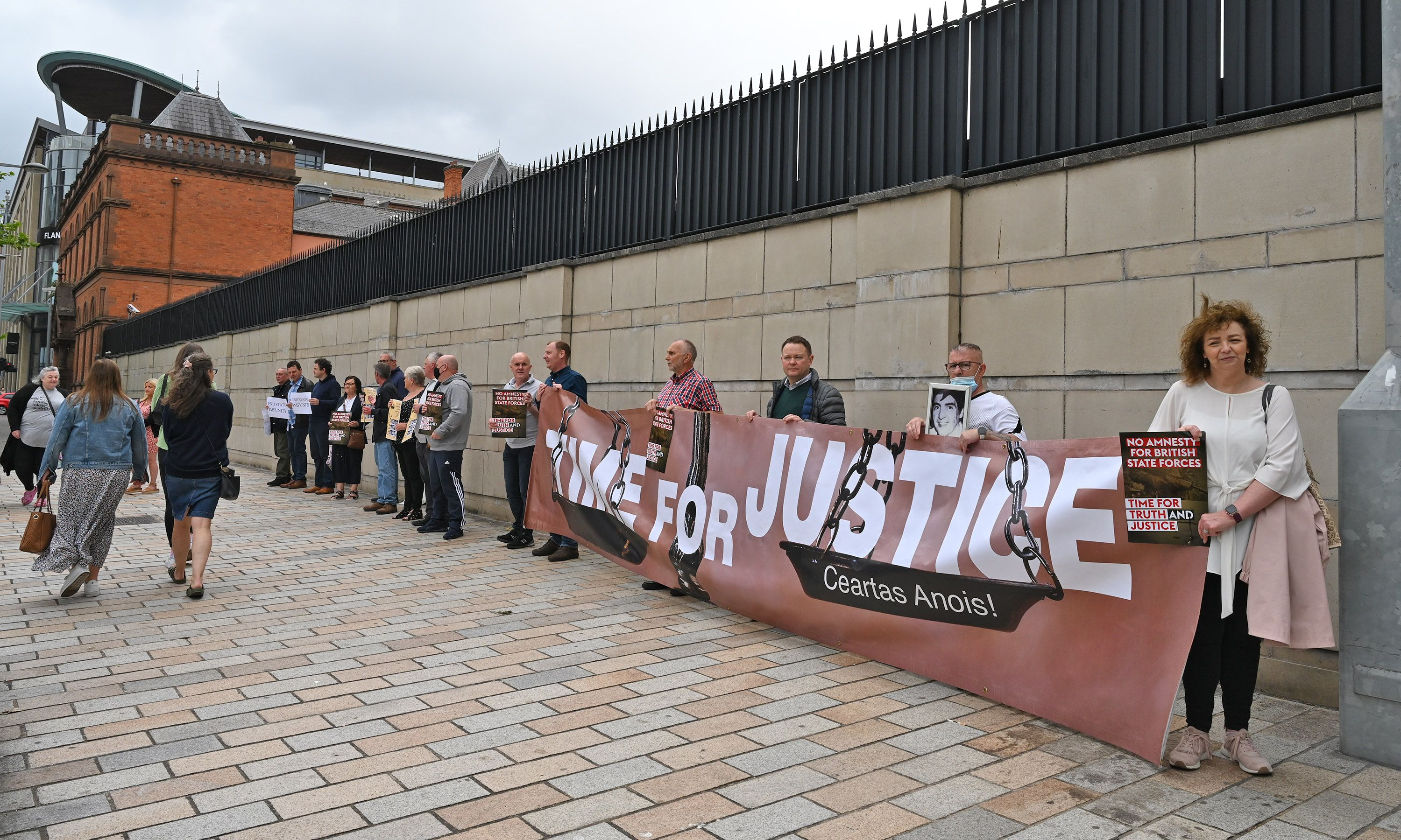 CAMPAIGNERS: Protestors at Belfast Courts after the decision not to prosecute British soldiers
