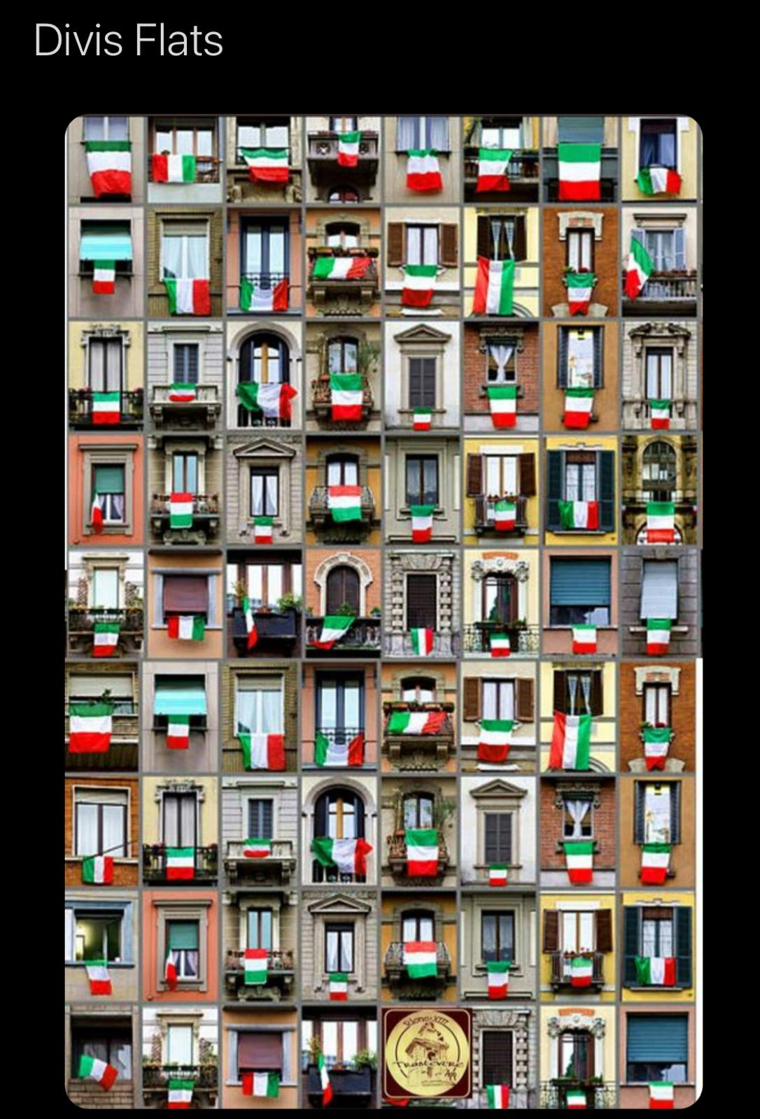 MEAN MEME: The display of support at an Italian apartment block was dubbed Divis Flats online.