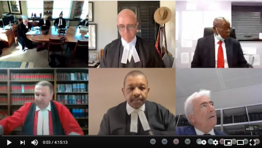 ON TRIAL: Former South African President on virtual trial yesterday (19 July)