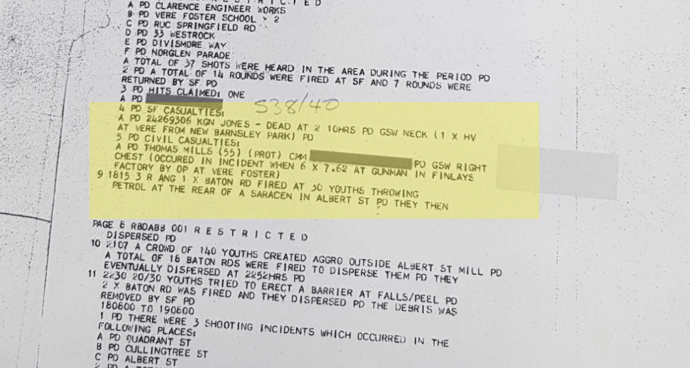 PROOF: The British Army admission, contained in secret military files, that it show Thomas Mills was shot by them