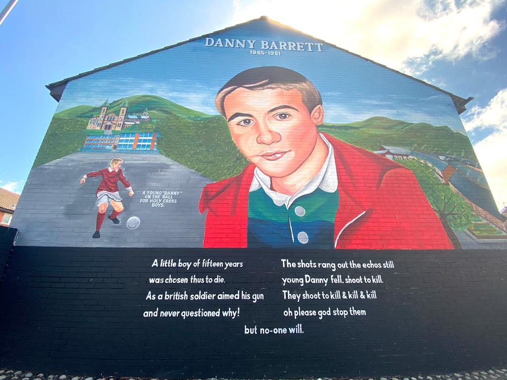 HUMAN RIGHTS CARNAGE: A new mural to teenager Danny Barrett, shot dead in Ardoyne by British Army in 1981.