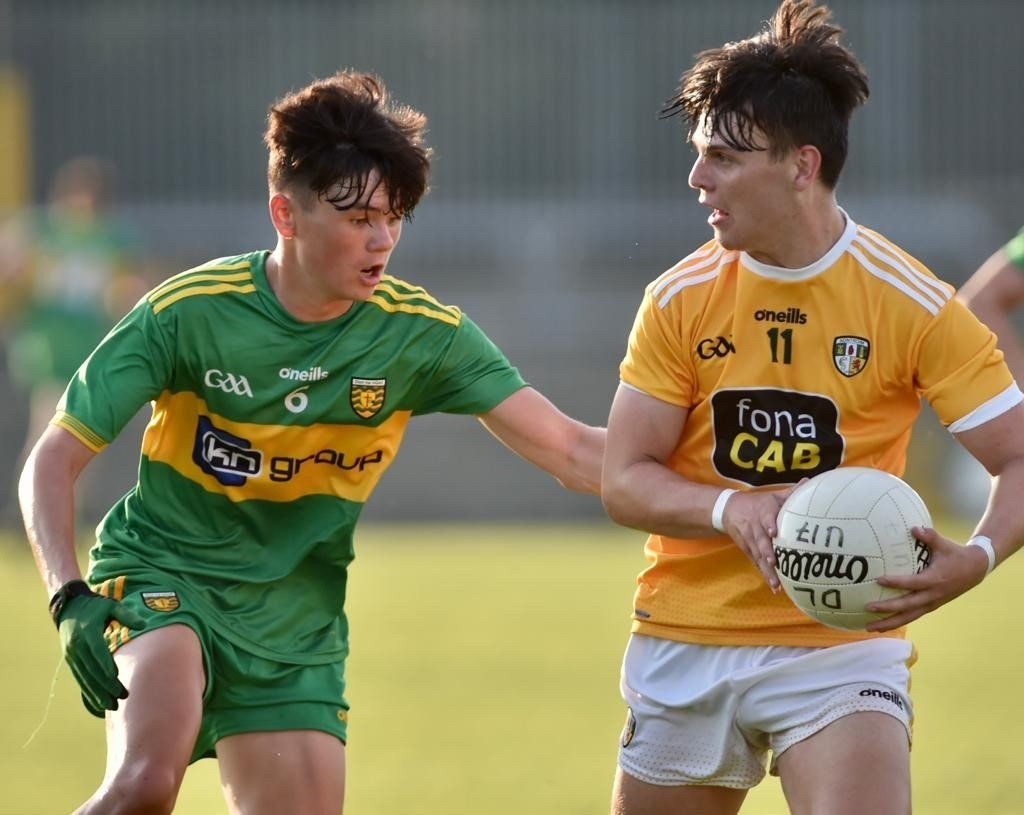 Antrim captain Connor Hastings in action against Donegal\'s Eoghan Kelly