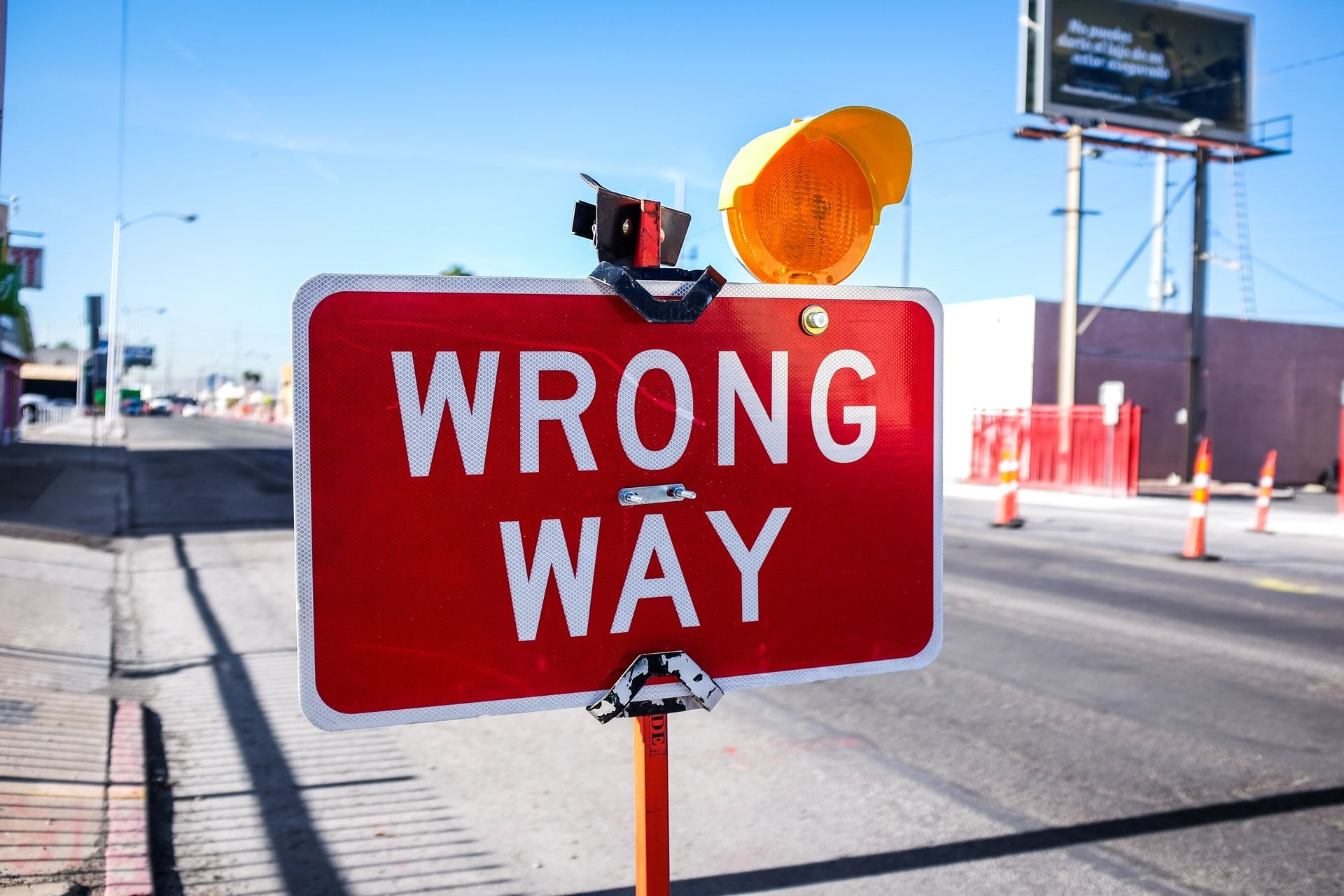 HOLD YOUR HORSES: Don\'t jump to the worst possible conclusion when faced with a challenge. Road sign in Las Vegas.