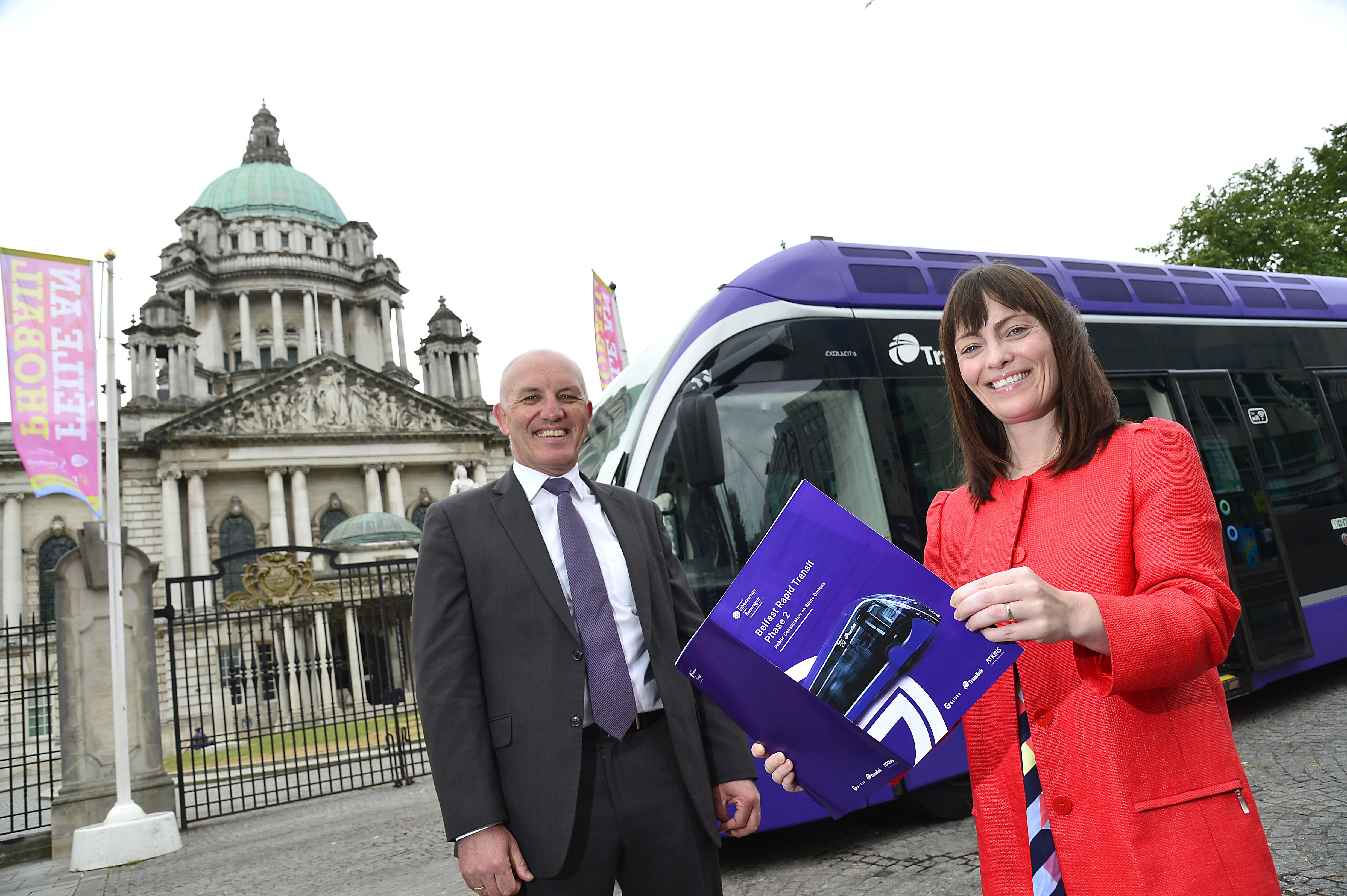 NEW GLIDER PLANS: Infrastructure Minister Nichola Mallon with  Ian Campbell, Director of Service Operations, Translink.