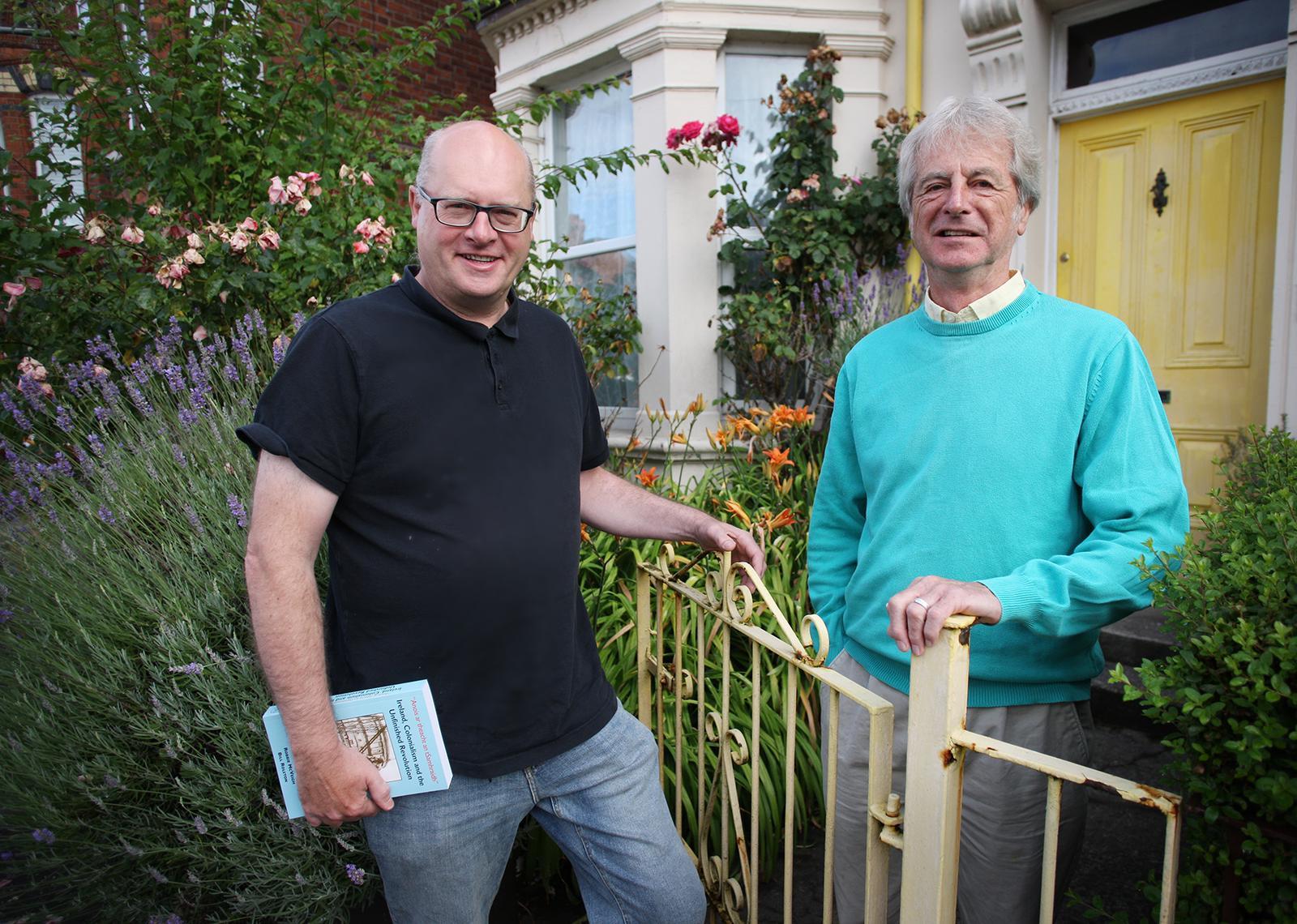 SNUG D FAN: Robbie McVeigh (left) with fellow-author Bill Rolston.