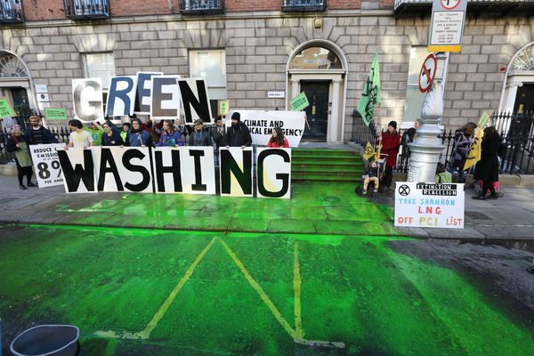 GREEN GOALS: An Extinction Rebellion protest at Fine Gael HQ in Dublin last year.