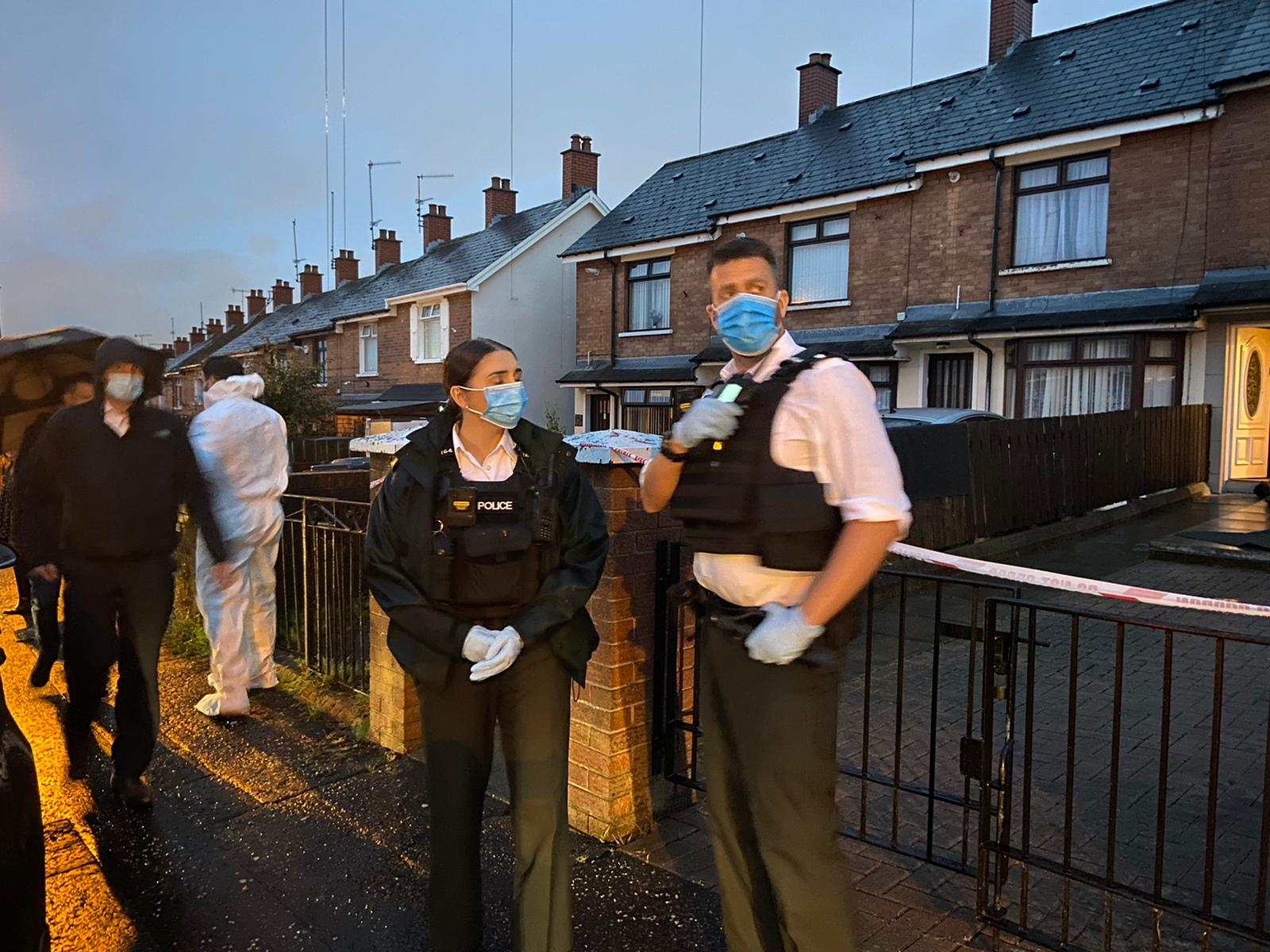 TRAGIC INCIDENT: Police at the scene in Brompton Park in Ardoyne on Tuesday night