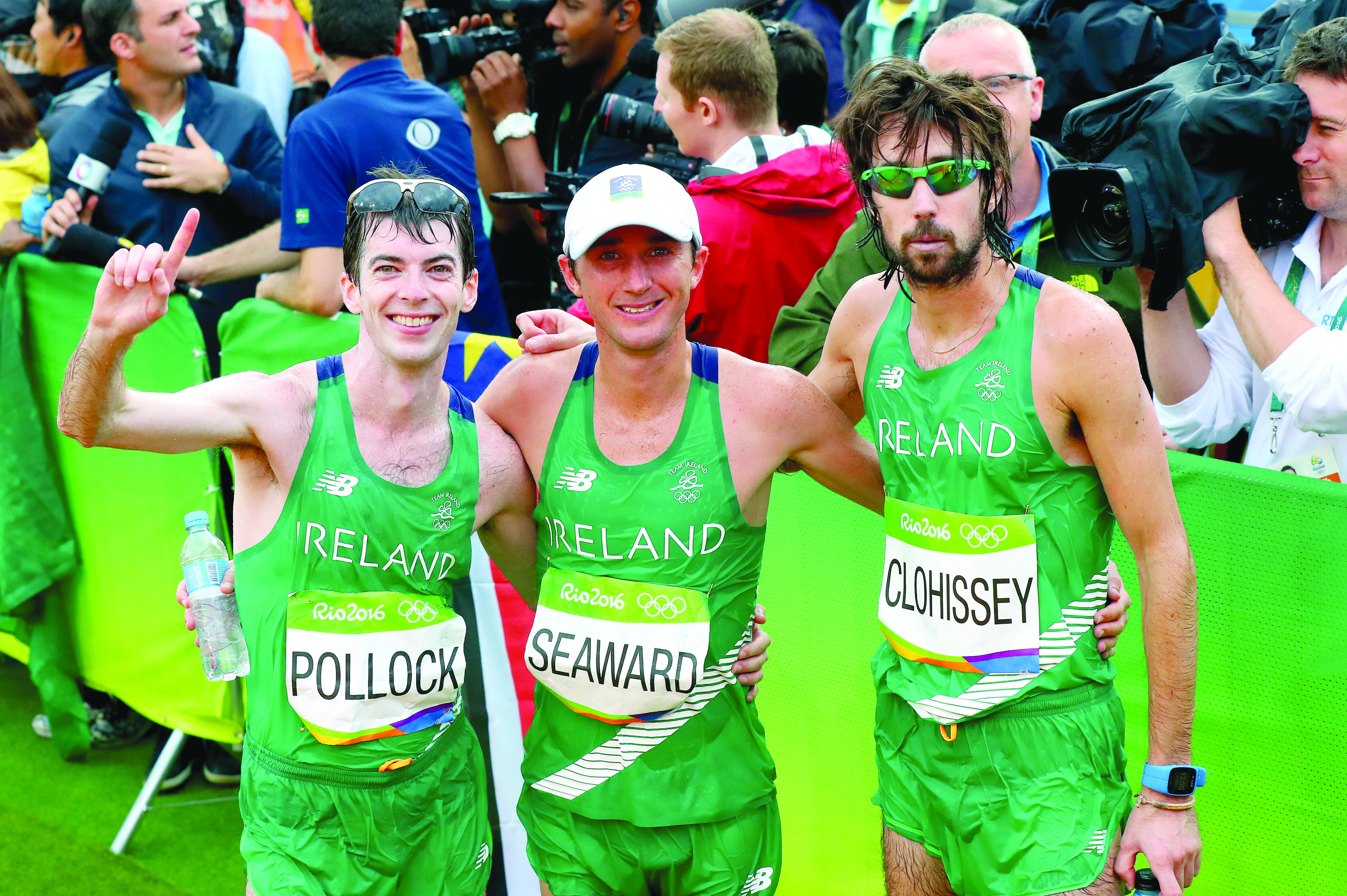 Paul Pollock (left) with Kevin Seaward and Mick Clohisey after finishing the men\'s marathon in Rio 2016