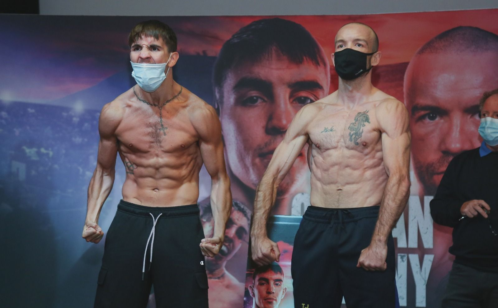 Michael Conlan roars in defiance after he and TJ Doheny weighed-in at The Devenish yesterday