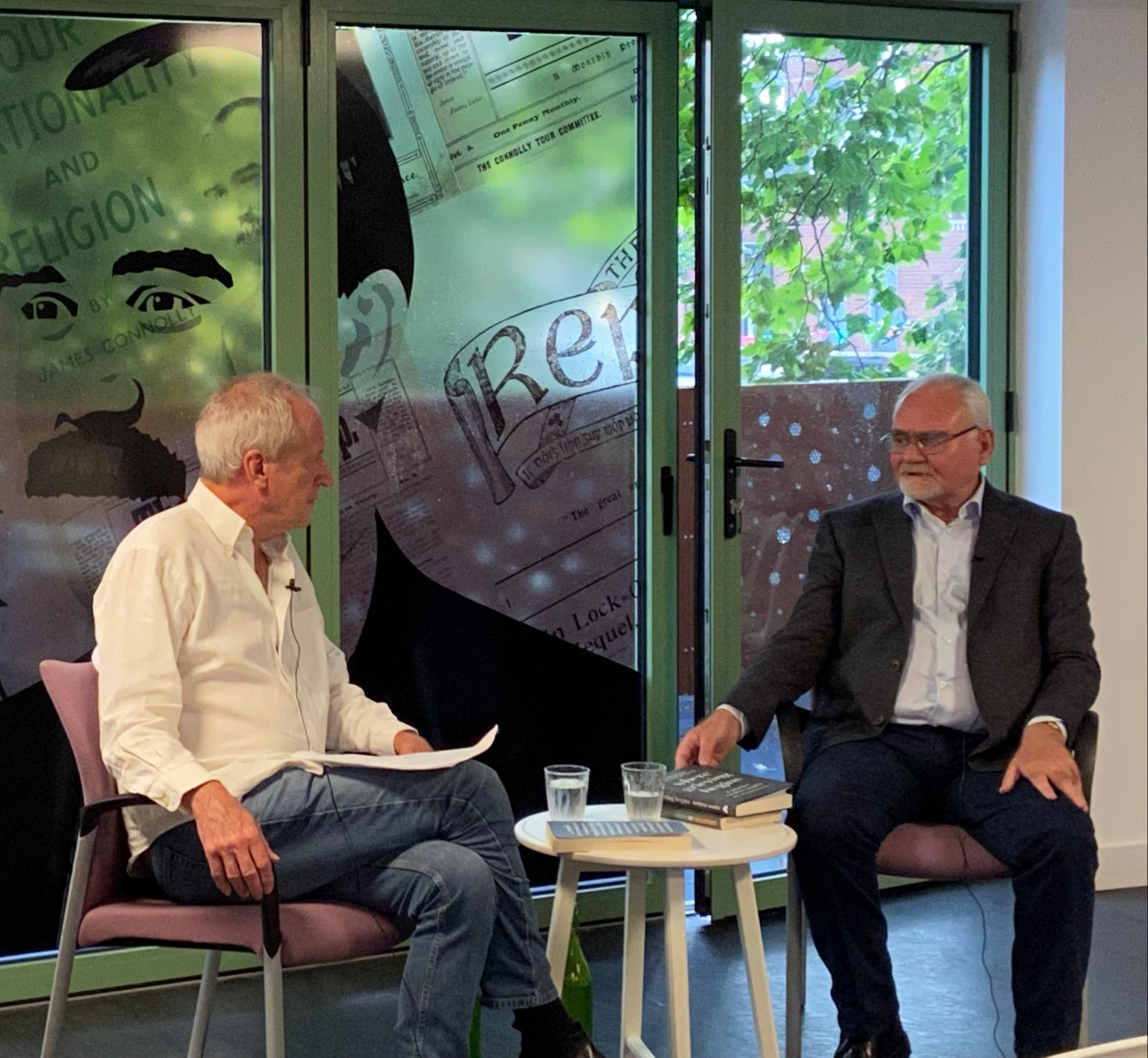 WHERE GRIEVING BEGINS: Timothy O\'Grady (left) in conversation with Pat Mage at Áras Uí Chonghaile