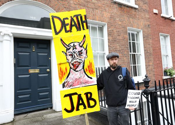 INSULT TO THOSE WHO LOST LIVES: Anti-vaxxer protesting in Dublin this week.