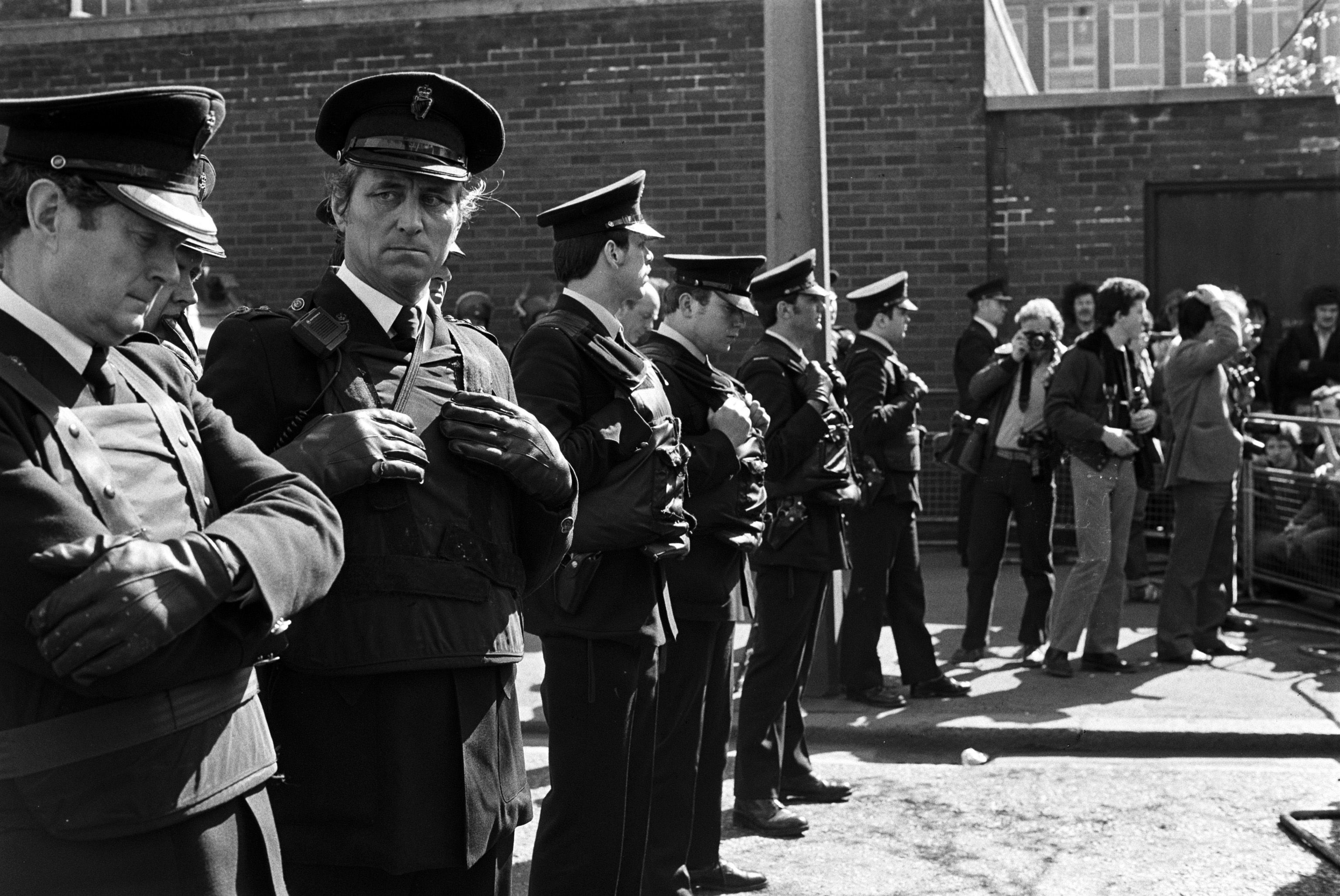 OUT OF TOUCH: NIO officials suggested an RUC officer accompanying UDR patrols would make them palatable to nationalists. RUC officers blocking a H-Block parades to Belfast city centre in 1981.