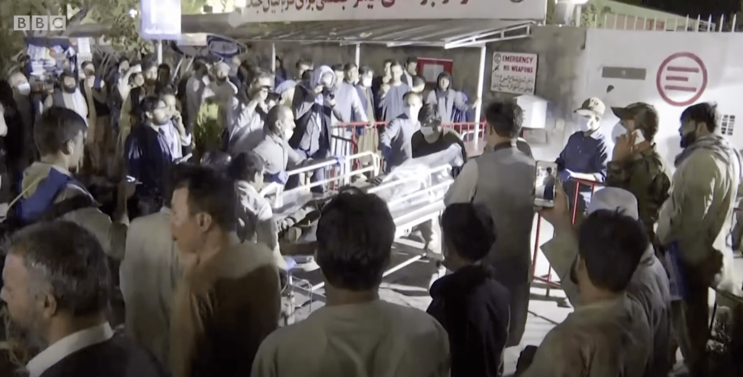 SLAUGHTER: Those injured in the suicide bombing at Kabul Airport are rushed to hospital