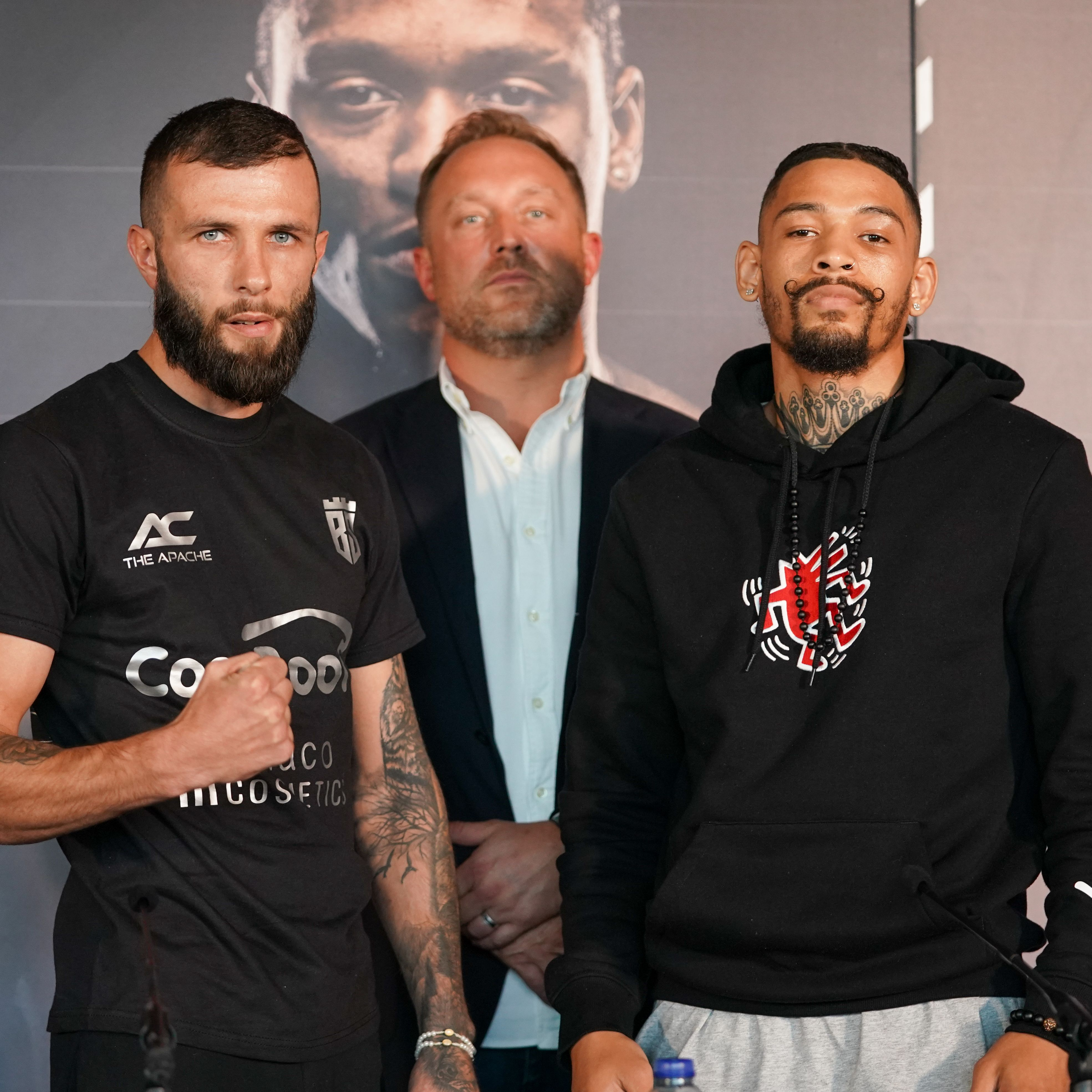 Anthony Cacace and Lyon Woodstock with promoter Francis Warren at Thursday\'s final press conference in Birmingham