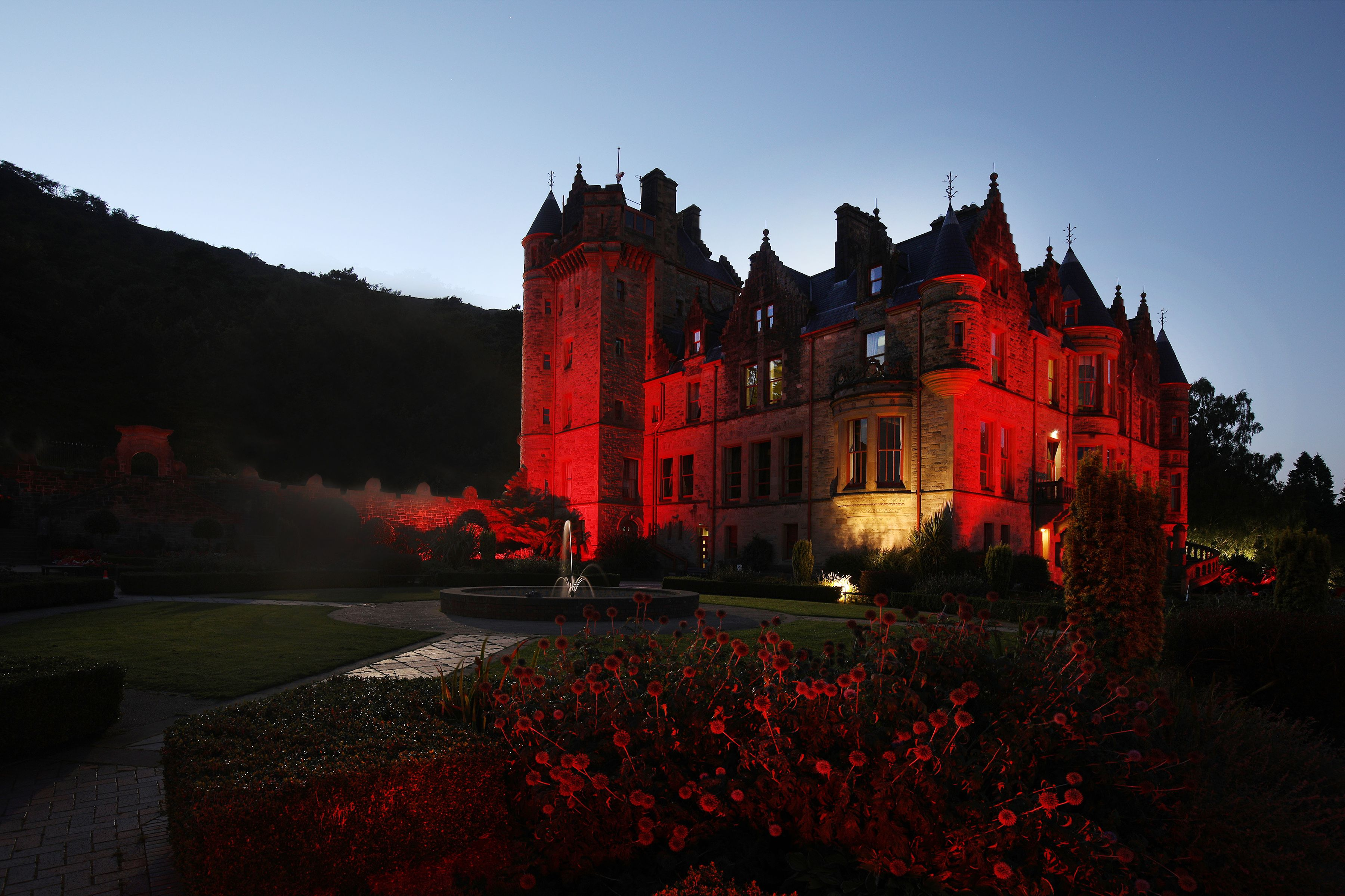 RED: Belfast Castle was lit up for Blood Cancer Awareness Month in September