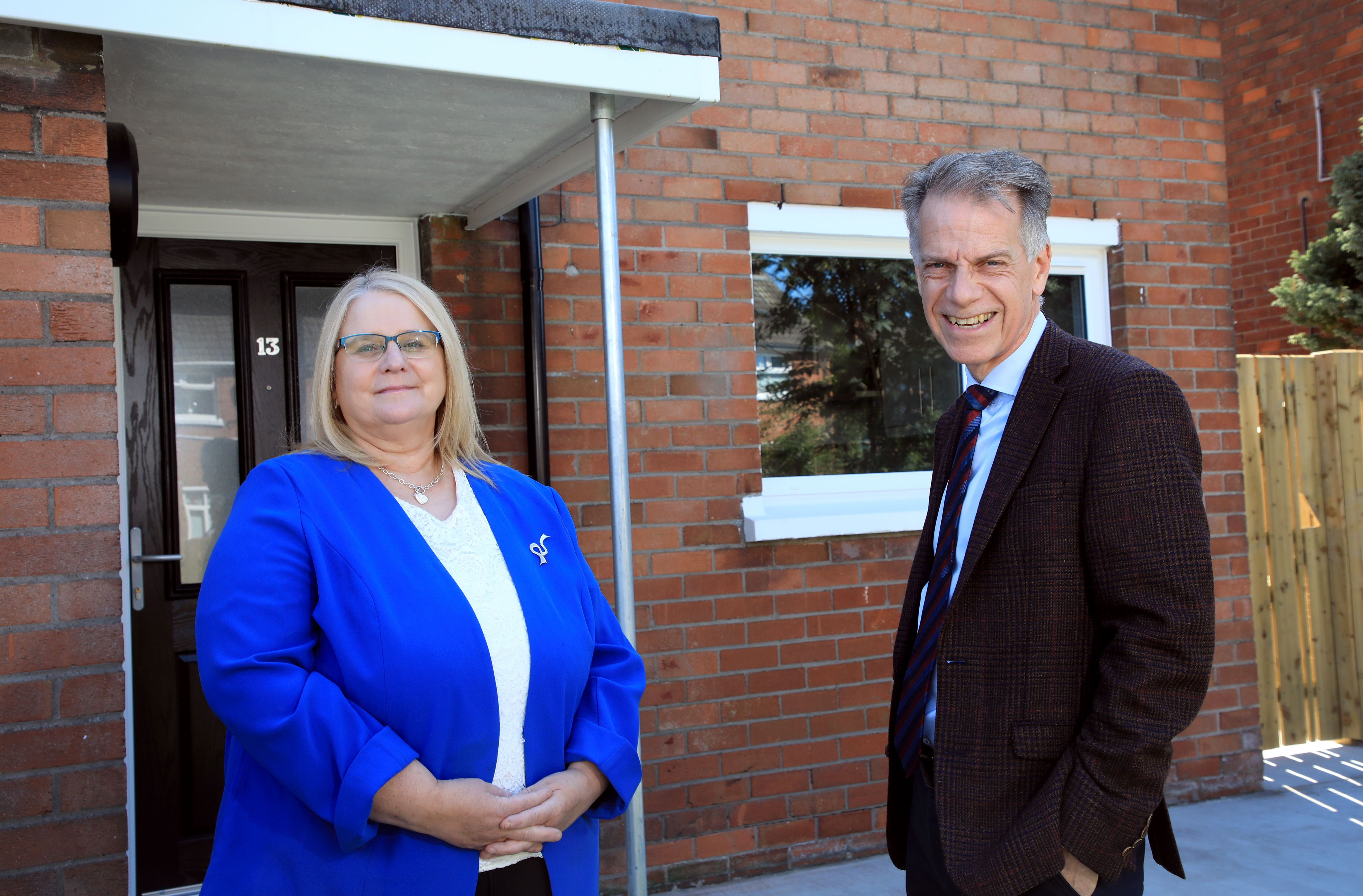 UNVEILING: Geraldine Reynolds from Department for Communities with Choice Housing Group Chief Executive Michael McDonnell
