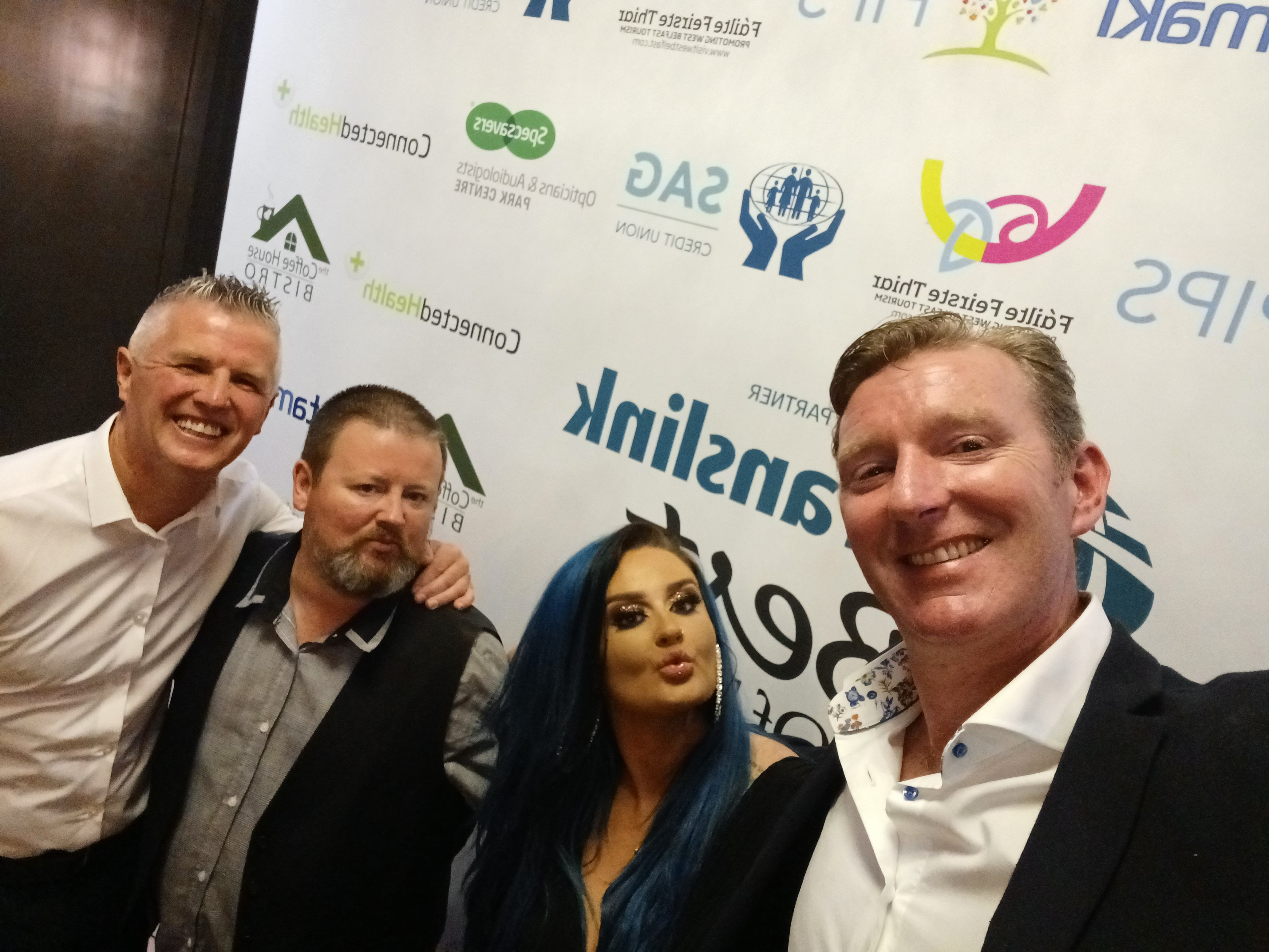 FATHER AND DAUGHTER: Rab and Keeva Boyle, centre, with Jim Conlon, Best Driver nominee, and Translink's Belfast Area Manager, Damien Bannon