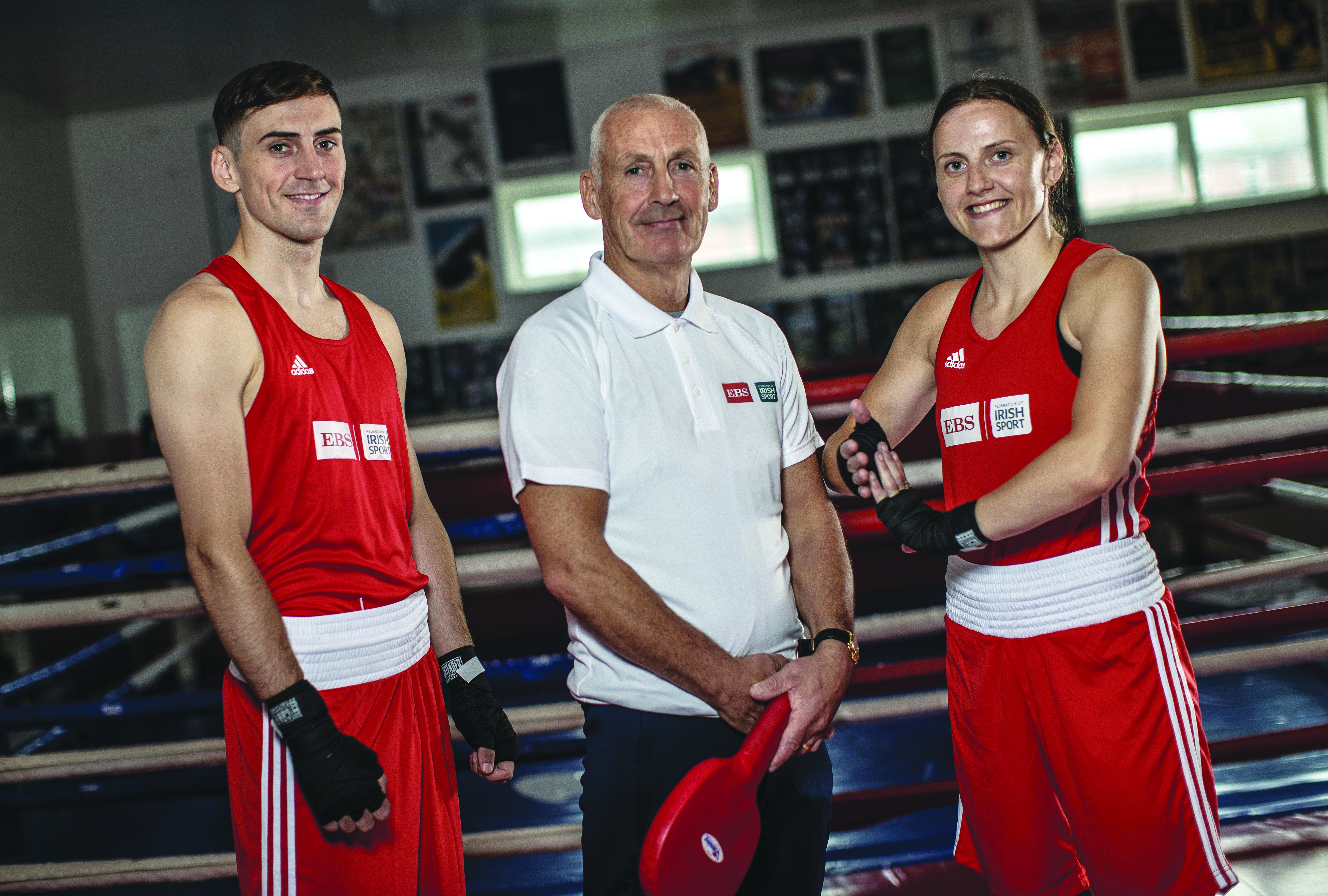 EBS ambassadors, Olympians and Ireland\'s history-making siblings, Aidan and Michaela Walsh are pictured alongside their dad and long-time boxing volunteer, Damien Walsh, following the launch of the 2021 Federation of Irish Sport Volunteers in Sport Awards