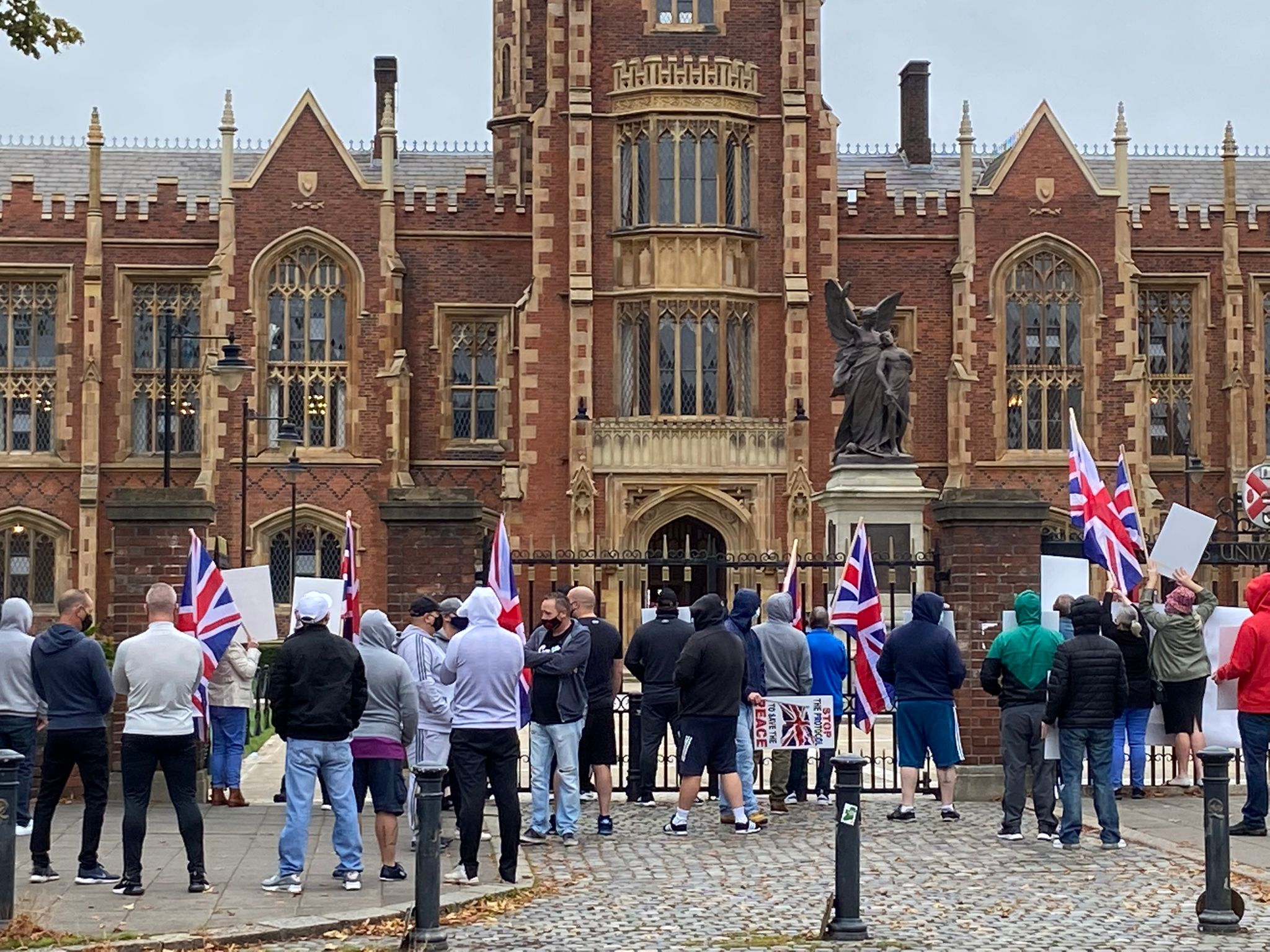 NUMBERS GAME: A small loyalist protest outside Queen\'s University in Belfast on Friday where European Commission vice president Maros Sefcovic was speaking about the Protocol
