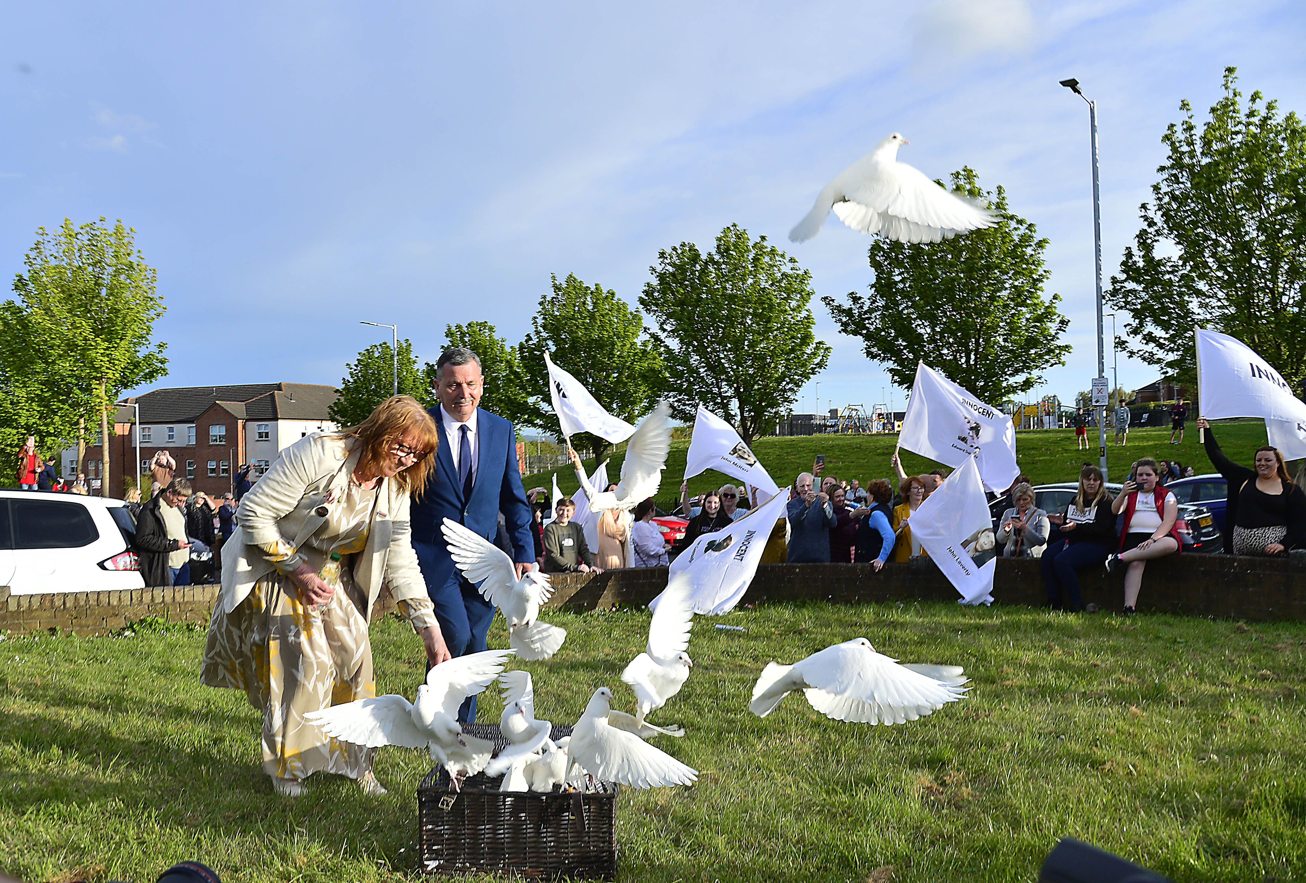 TRUTH WILL OUT: Ballymurphy Massacre families releas doves in memory of their loved ones after the Inquest verdict. It\'s widely believed the British Government moved to ban any further conflict-related inquests which would shed light on state violence.