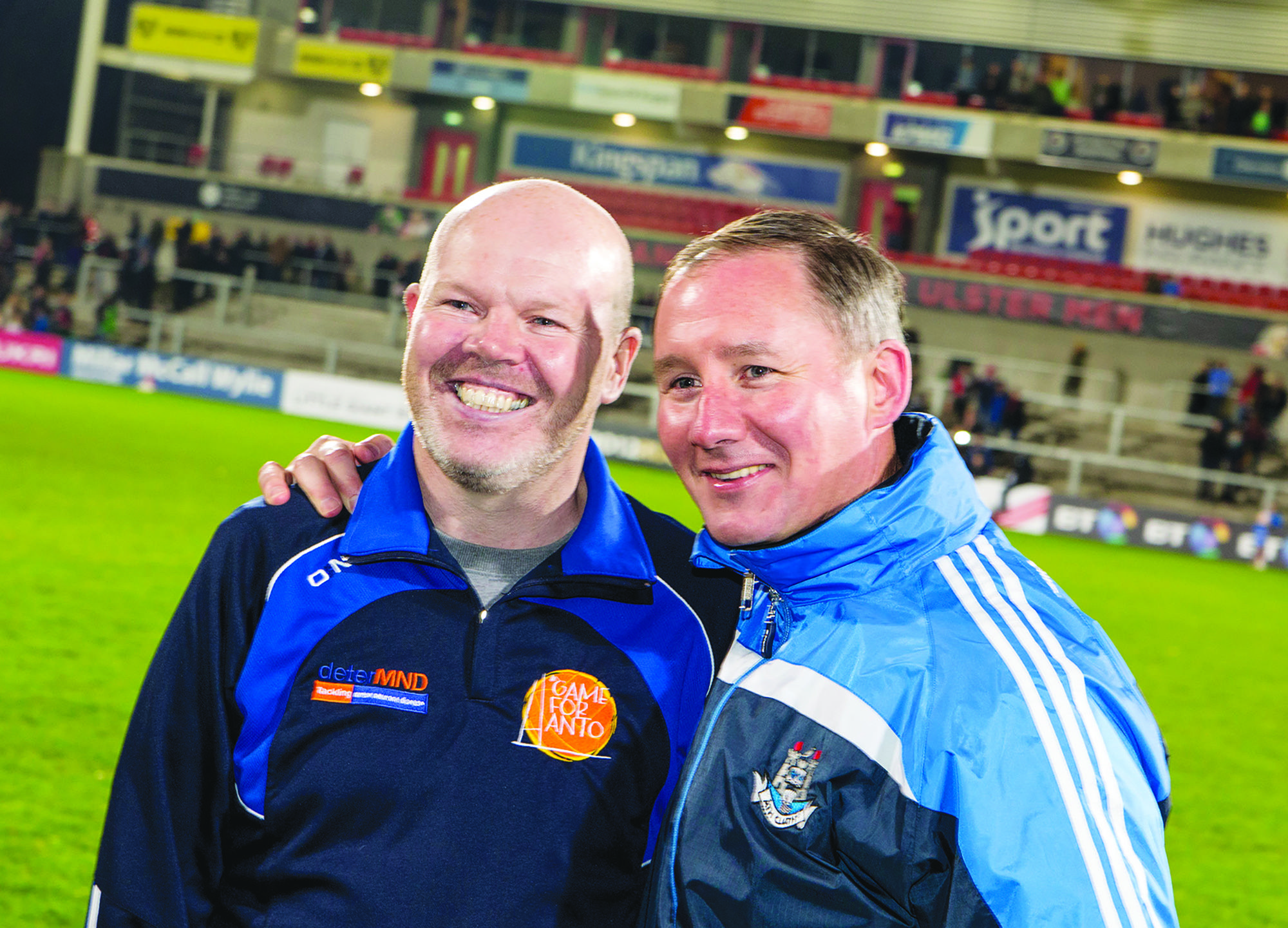 Former Dublin football manager Jim Gavin with Anto Finnegan at the 'Game for Anto' at Kingspan Stadium in 2014