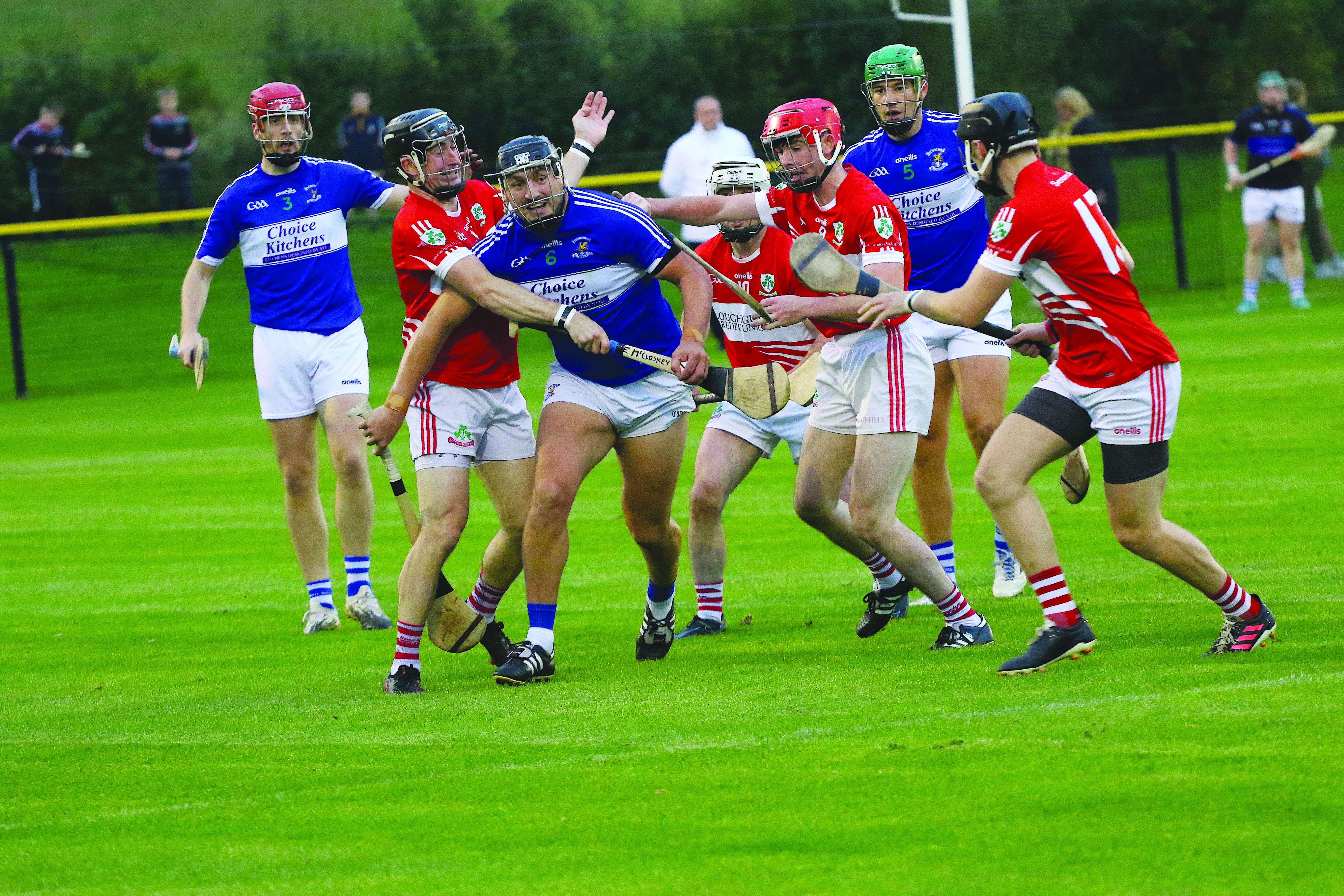 Domhnall Nugent, pictured in action, says the quarter-final win over Loughgiel has lifted a lot of pressure from the shoulders of the Johnnies' players