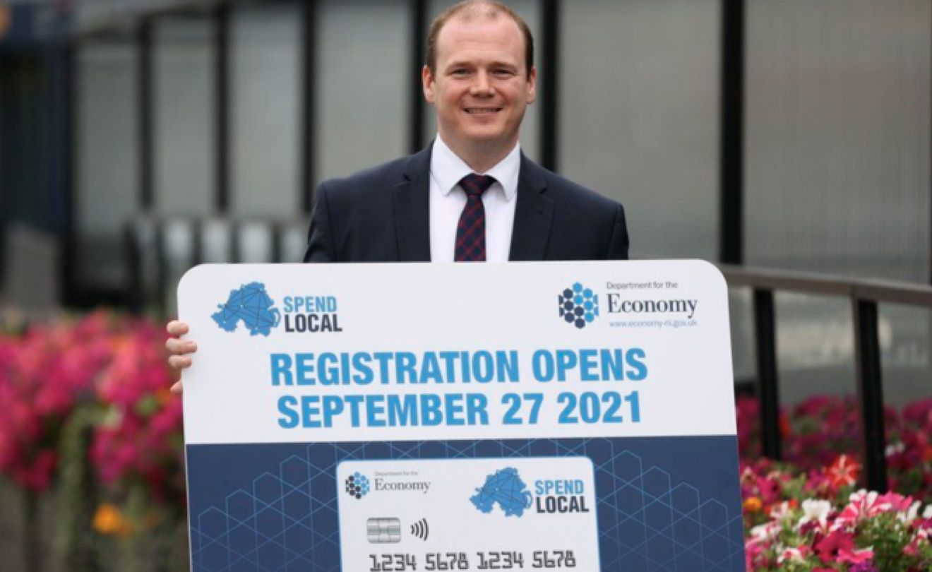 TON UP: Economy Minister Gordon Lyons launching the voucher scheme pic Dept for the Economy/PA