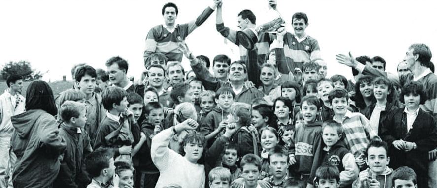 Rossa celebrate the 1989 victory over Cargin in Casement Park