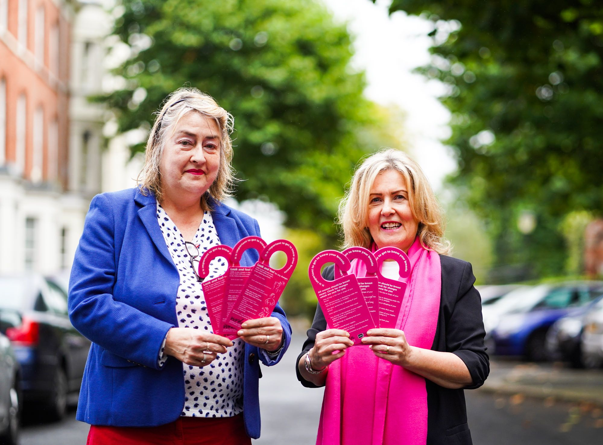 GET CHECKED: Katherine Robertson and Paula Murray from WRDA with waterproof cards that hang in the shower to give instructions on the best procedure for breast self-examination