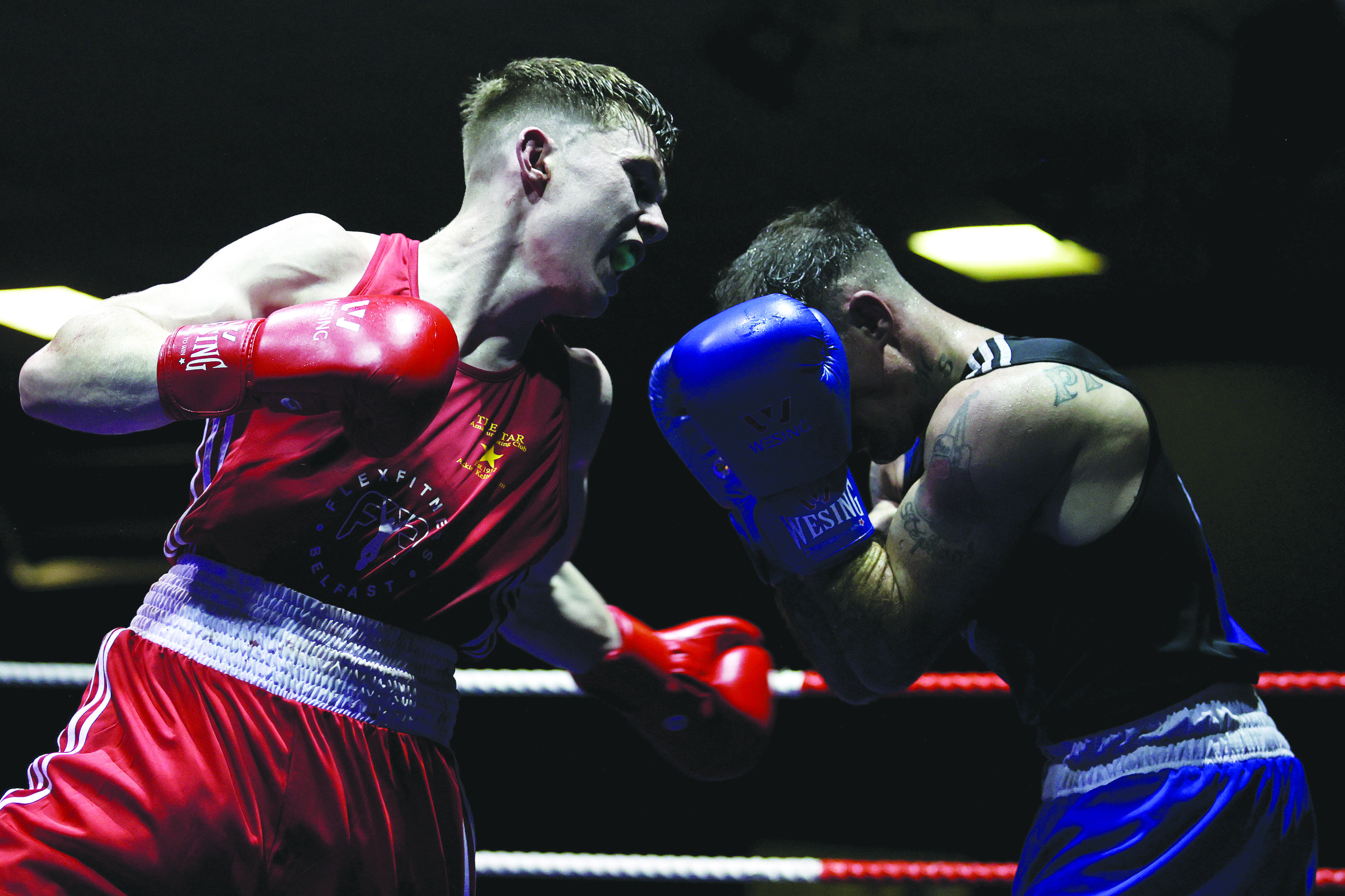 Star ABC's JP Hale in action against Michael Stephens in Friday's semi-final that set-up a lightweight final against Dominic Bradley. The finals will be broadcast live on TG4 this Saturday