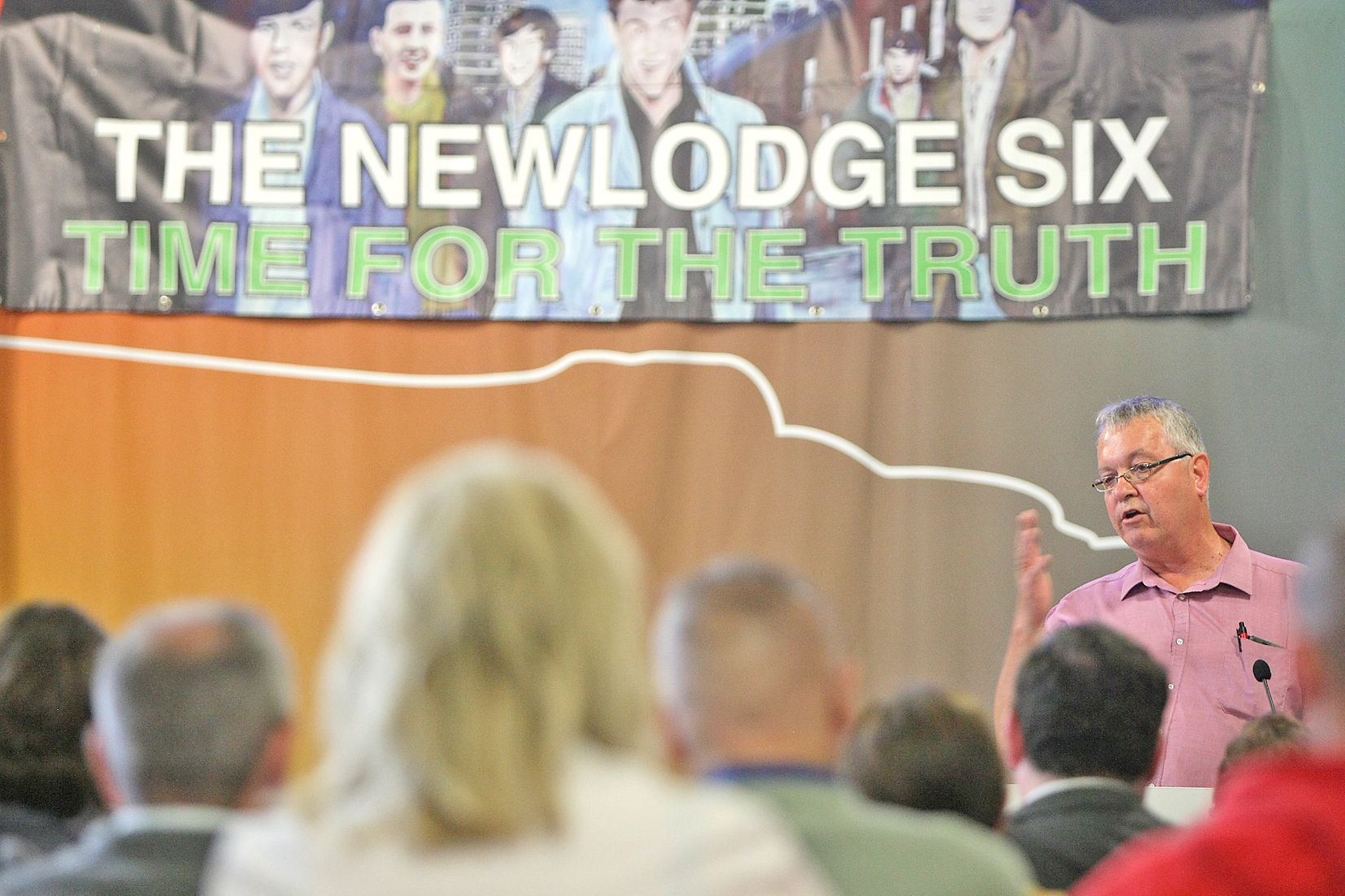 TALK: RFJ's Mike Ritchie speaking at an event about the killings in the New Lodge