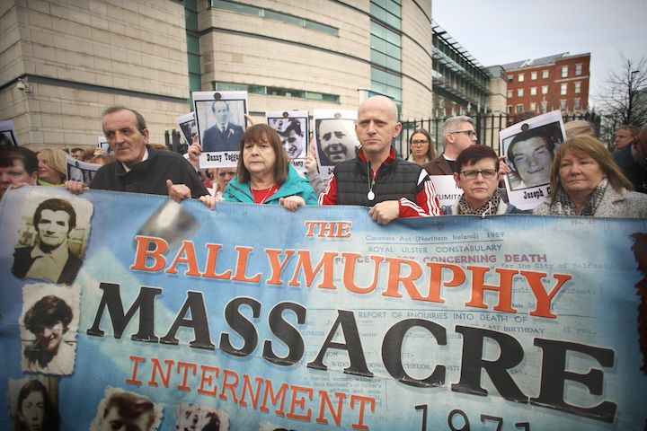 ADVOCATES: No one puts the case of victims than victims themselves, says Andrée Murphy. Ballymurphy Massacre campaigners outside the high court in Belfast. Today is the 49th anniversary of the Ballymurphy Massacre.