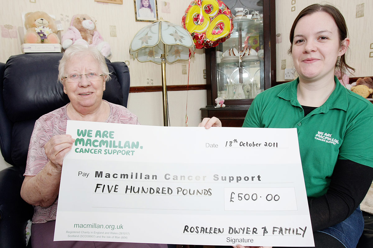 Macmillan cancer support cheque 11810mj11